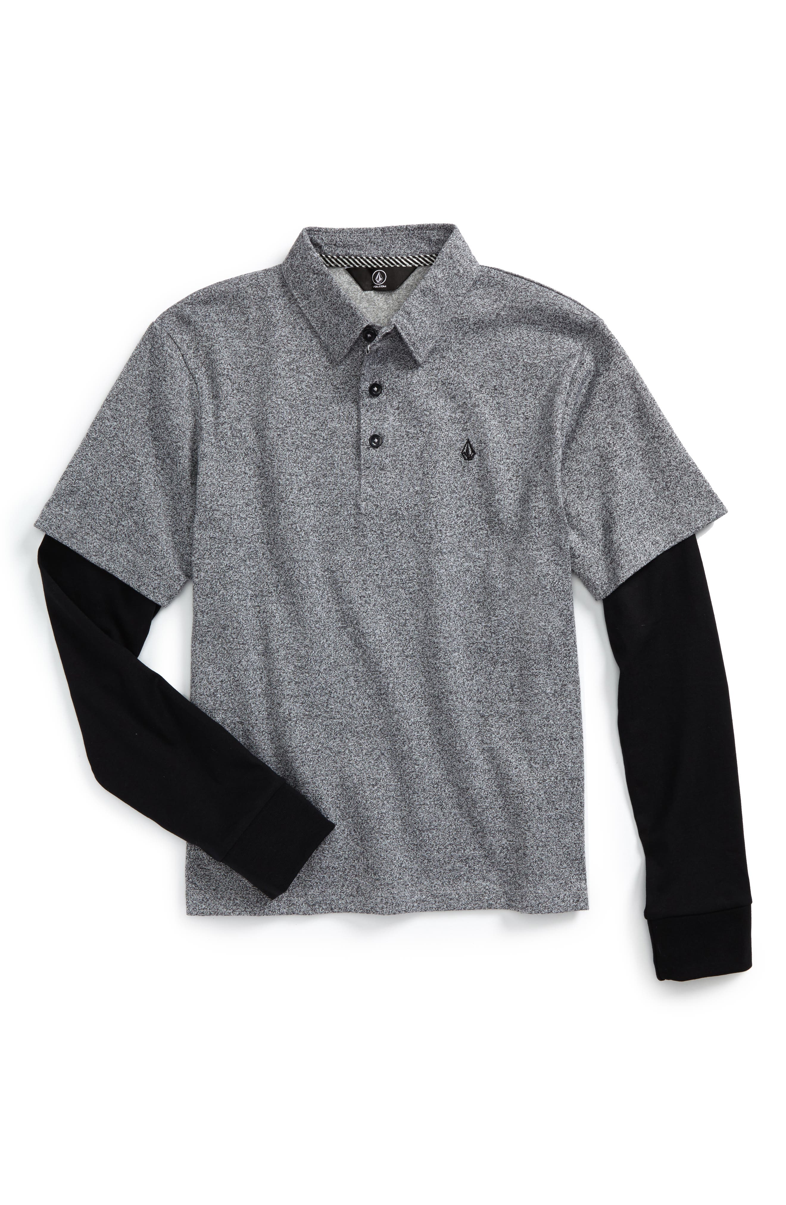 Volcom Wowzer Layered Long Sleeve Polo (Big Boys)