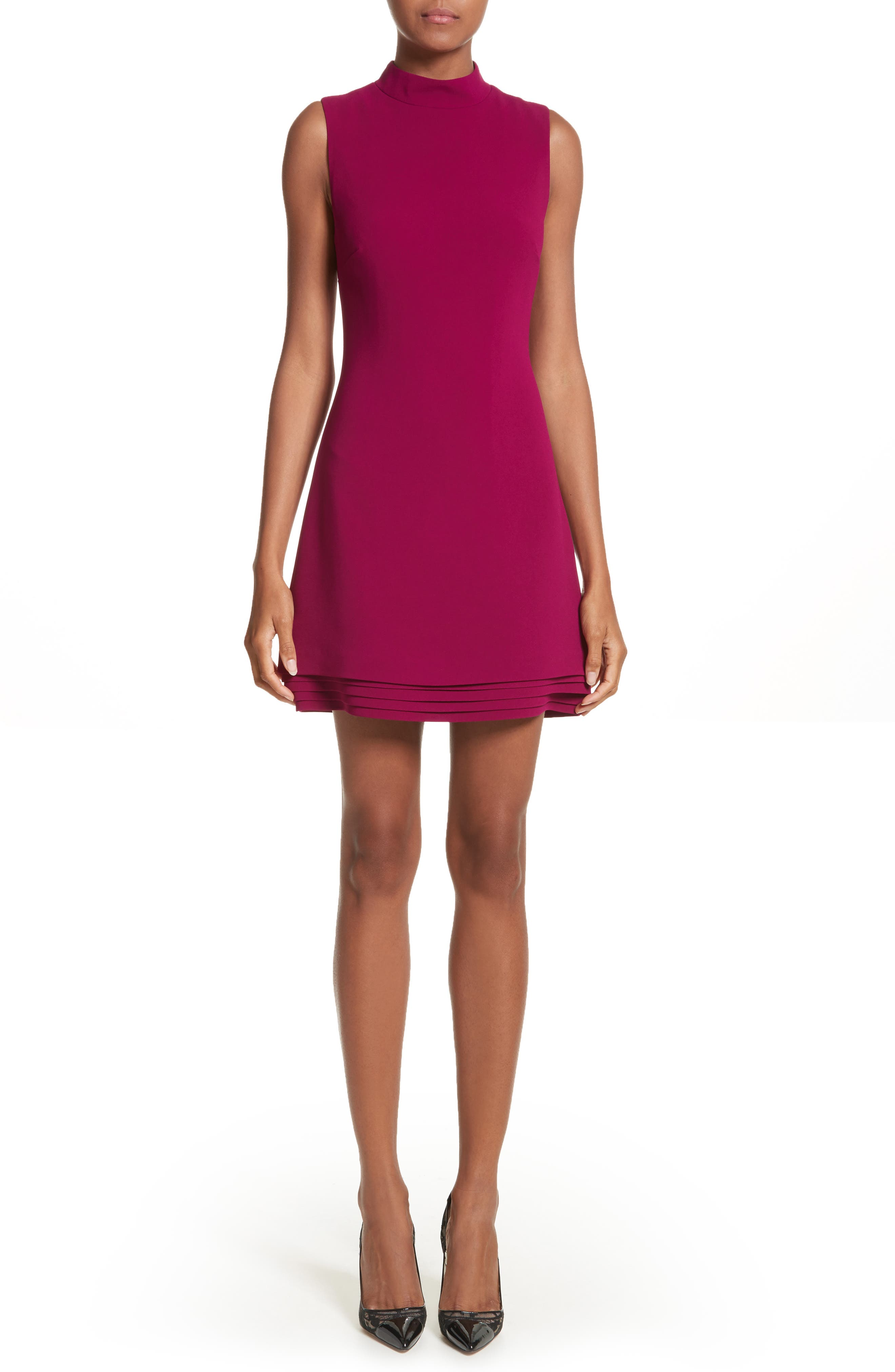Brandon Maxwell Layered Hem Shift Dress