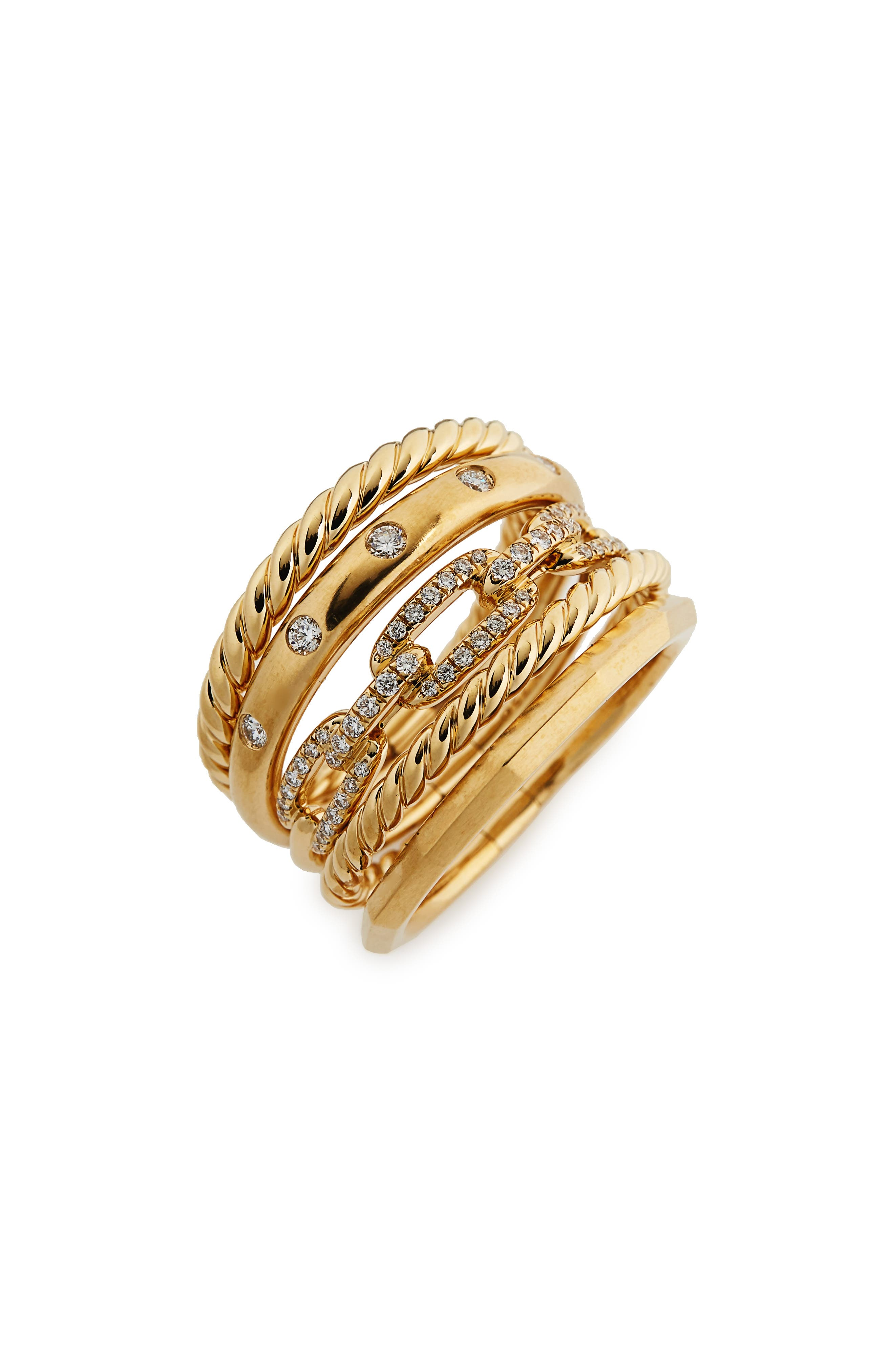 David Yurman Stax Wide Ring with Diamonds in 18K Gold, 15mm