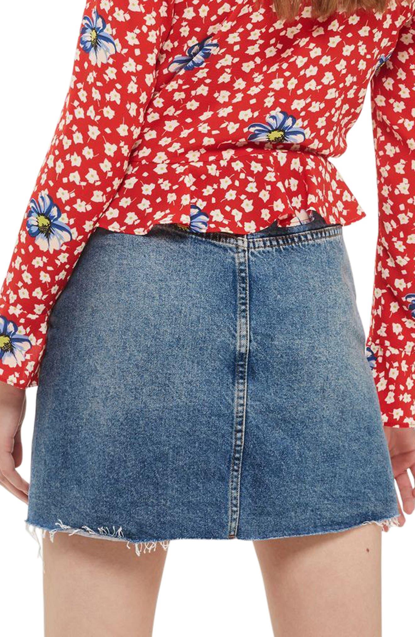Alternate Image 2  - Topshop Button Denim Miniskirt