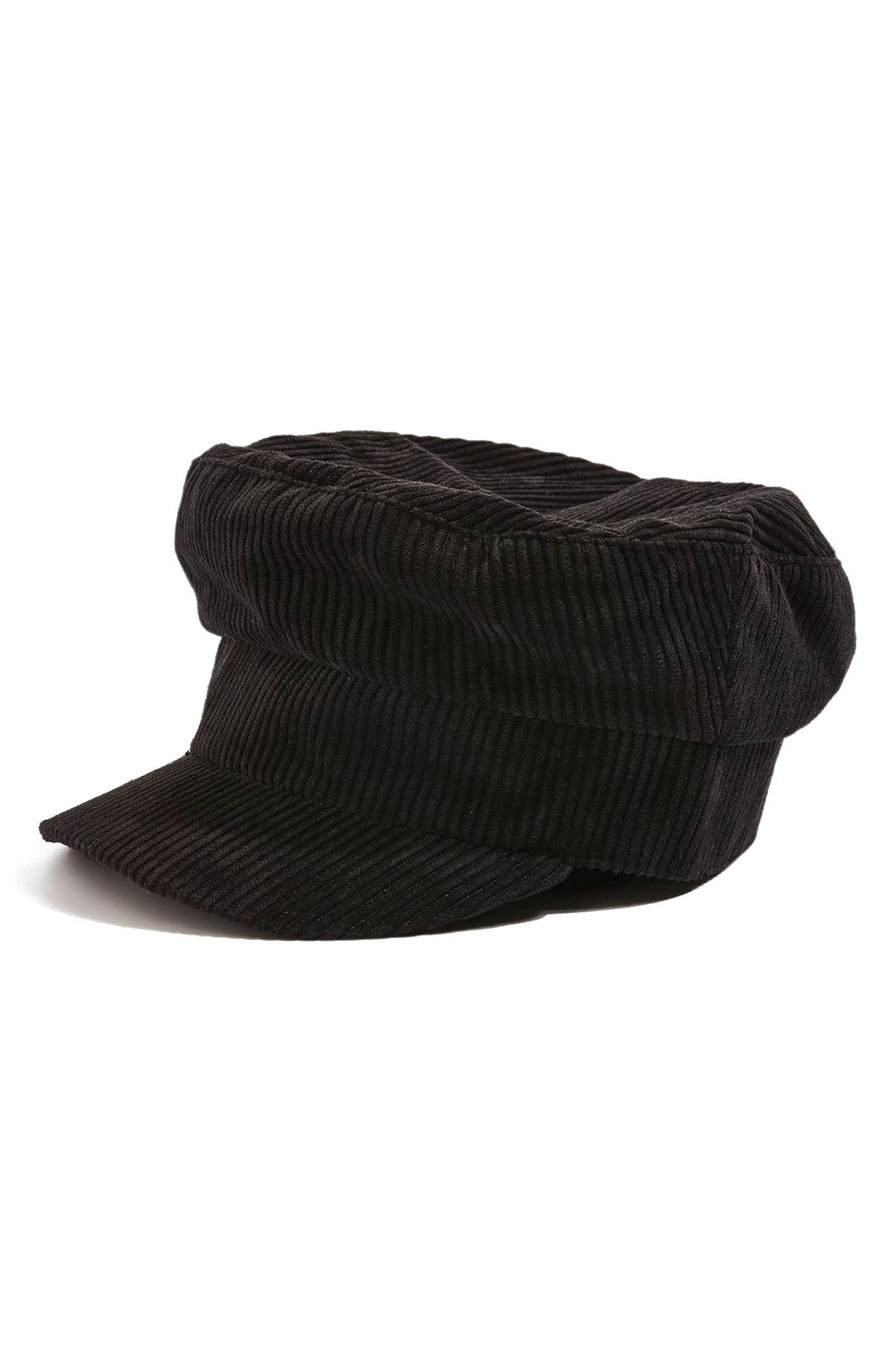 Corduroy Baker Boy Hat,                             Alternate thumbnail 3, color,                             Black