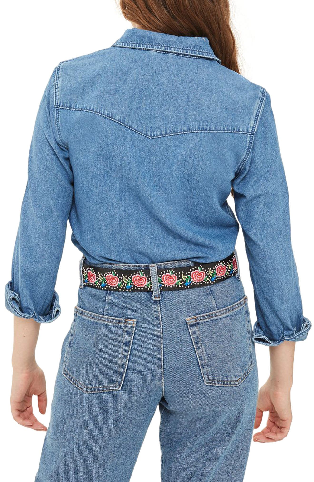 Alternate Image 3  - Topshop Western Denim Shirt (Petite)