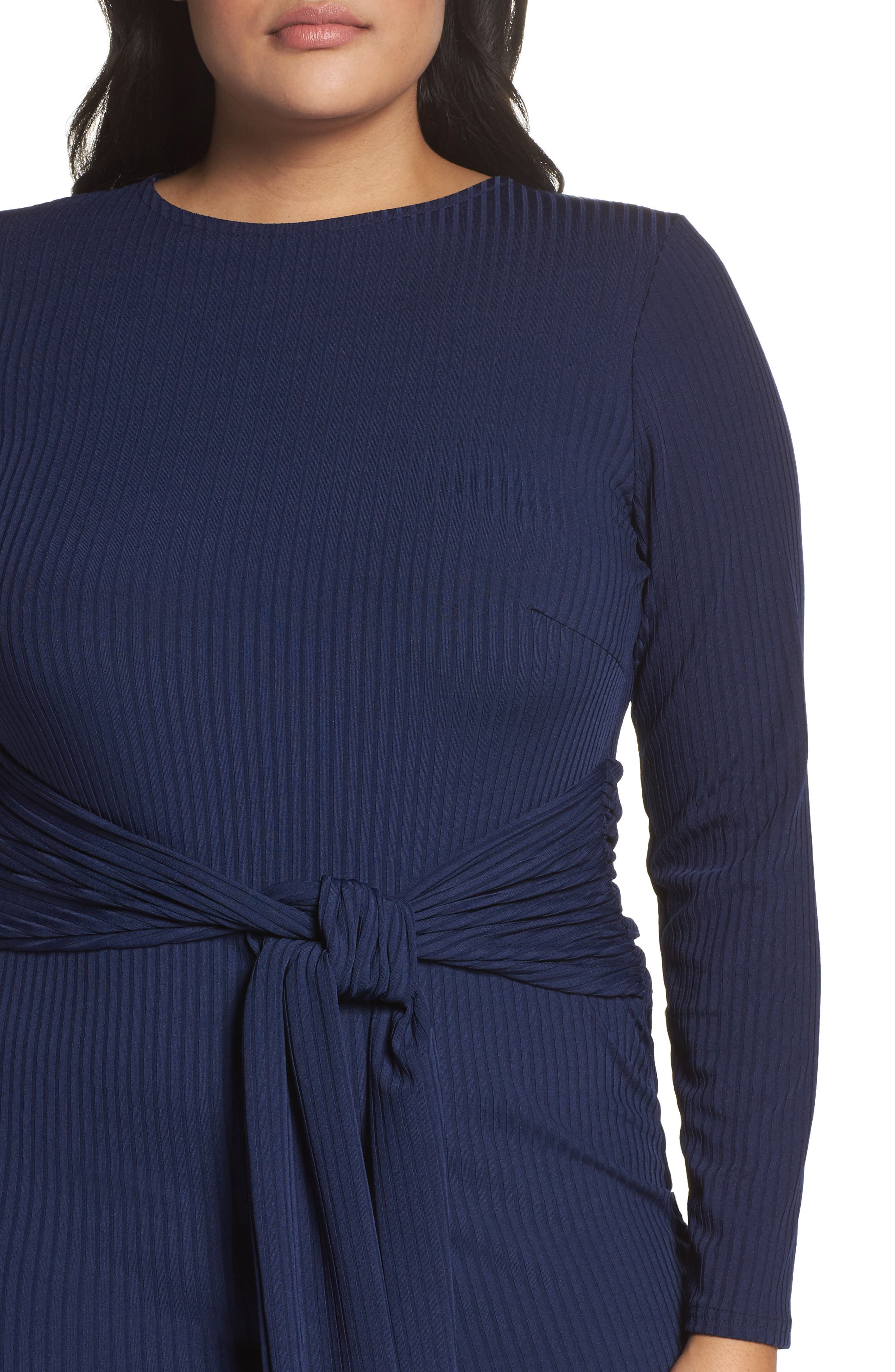 Tie Front Ribbed Sheath Dress,                             Alternate thumbnail 6, color,                             Navy