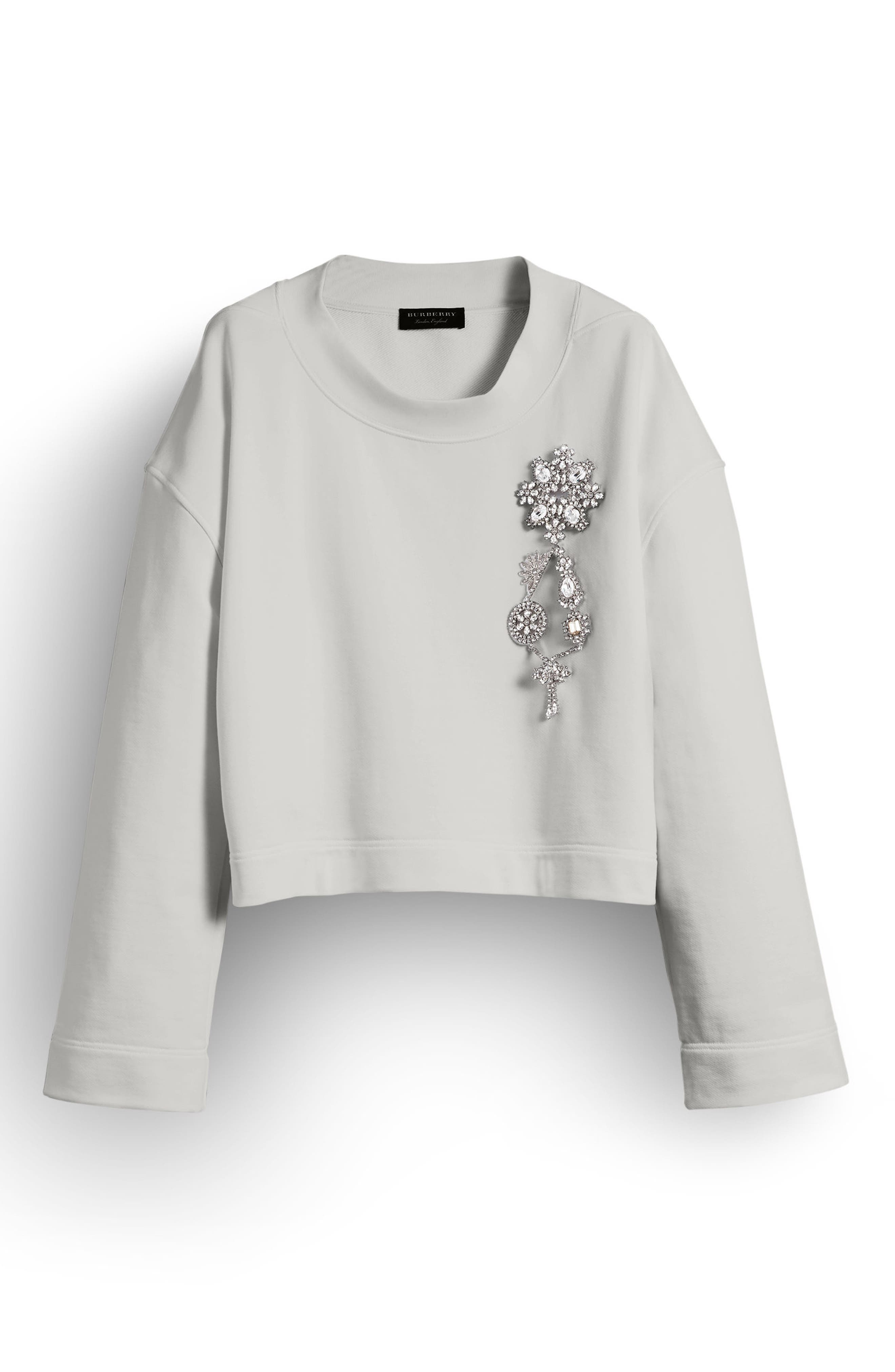 Burberry Brooch Detail Cotton Sweatshirt