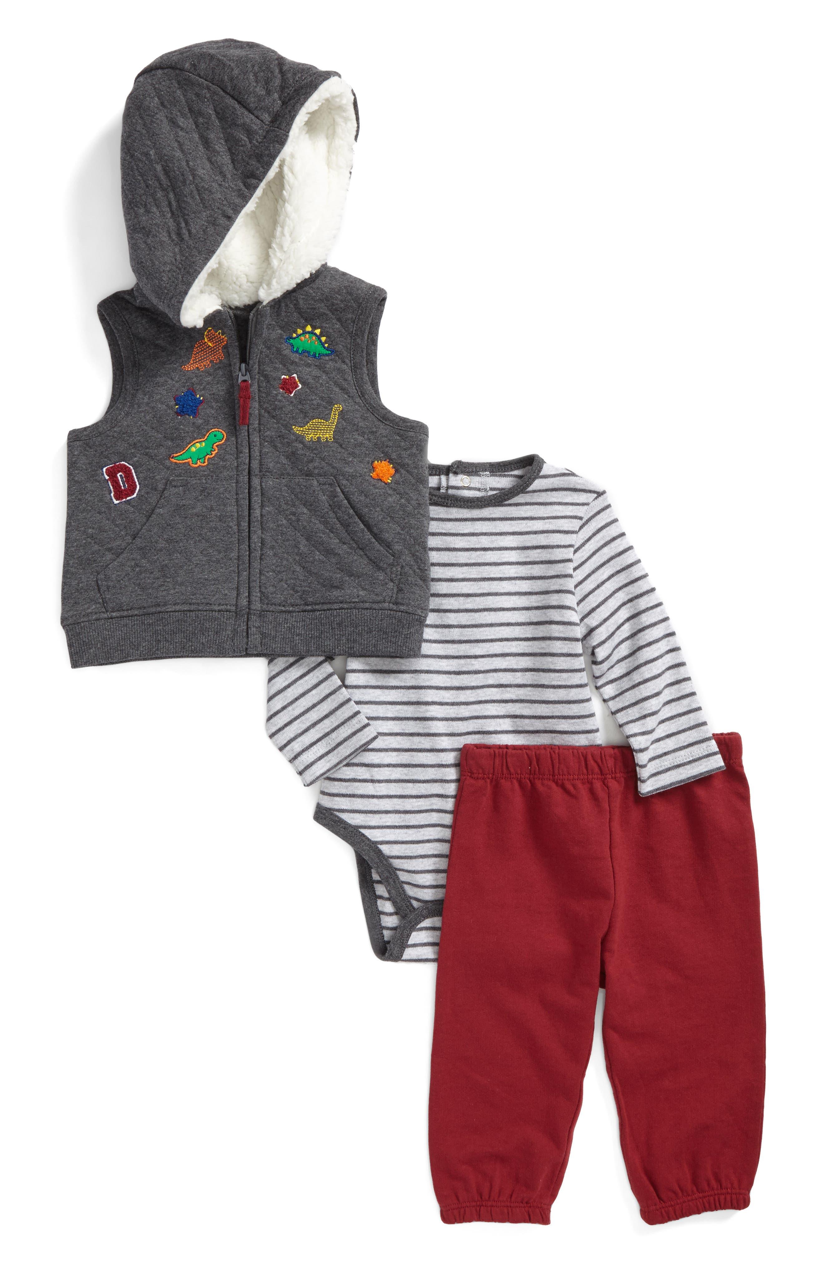 Main Image - Little Me Dino Vest, Bodysuit & Pants Set (Baby Boys)
