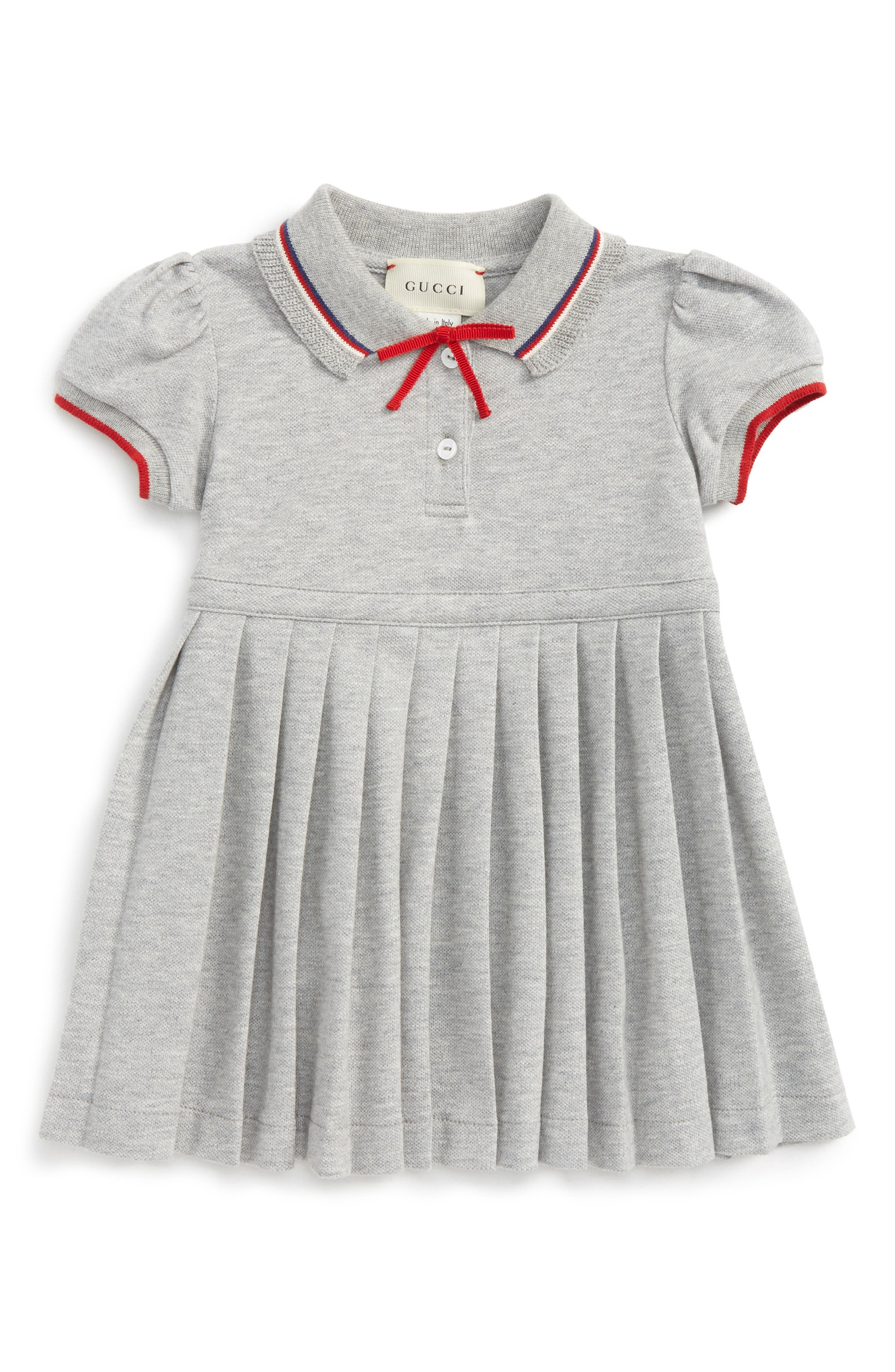 Bow Trimmed Dress,                             Main thumbnail 1, color,                             Grey Multi