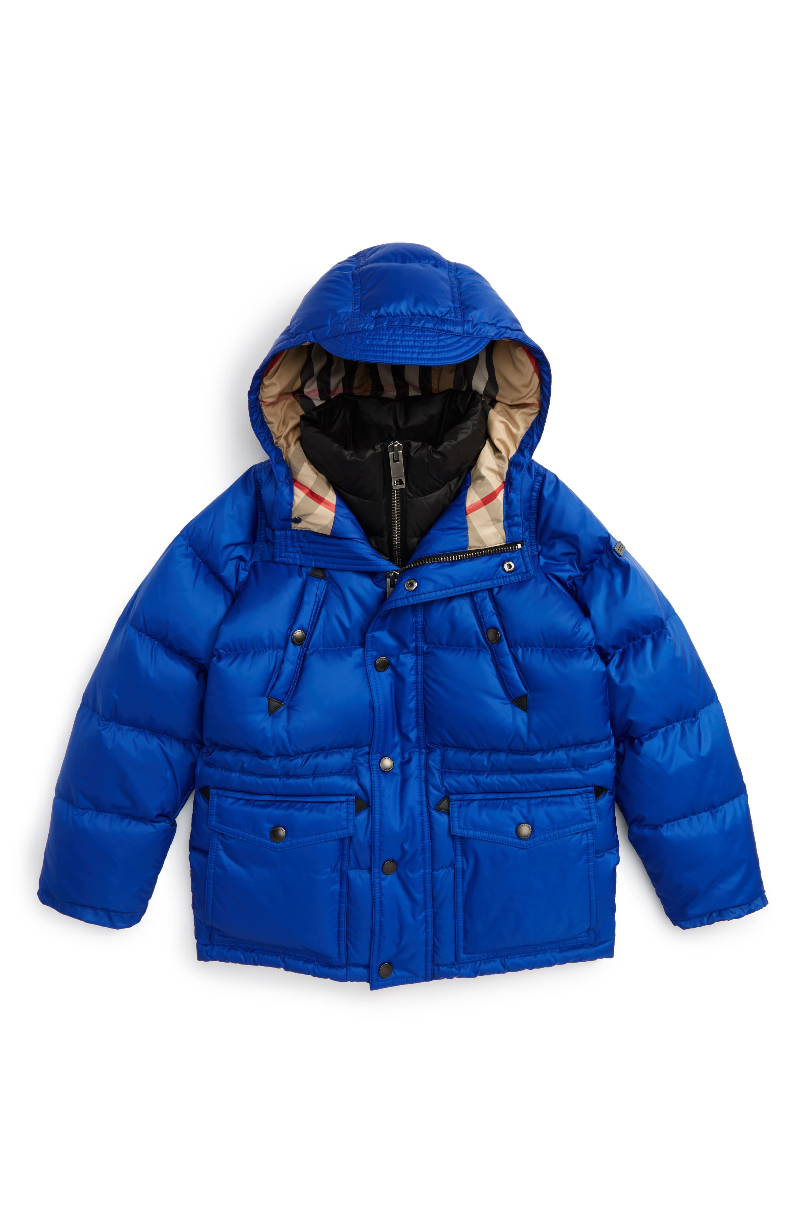 Petter Hooded Down Puffer Jacket,                         Main,                         color, Brilliant Blue