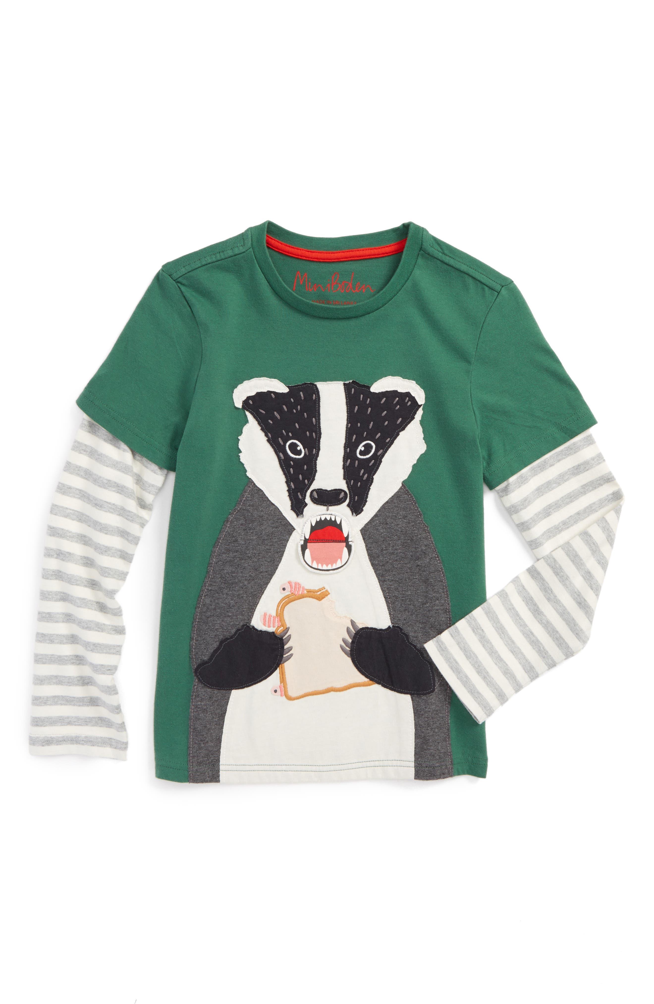 Layered Fun Animal Long Sleeve T-Shirt,                         Main,                         color, Willow Green Badger