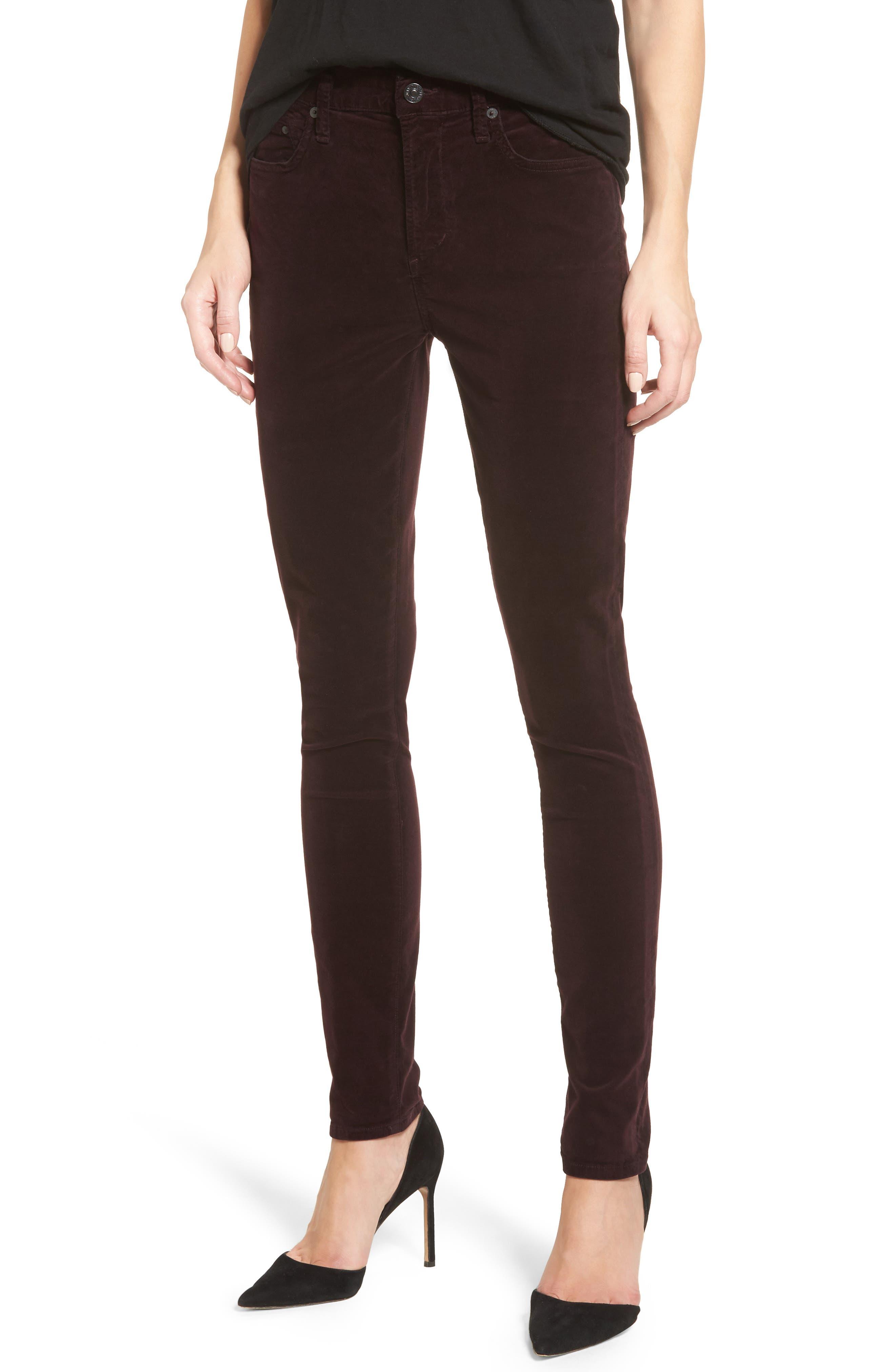 Rocket High Waist Velveteen Skinny Pants,                             Main thumbnail 1, color,                             Black Currant Velvet