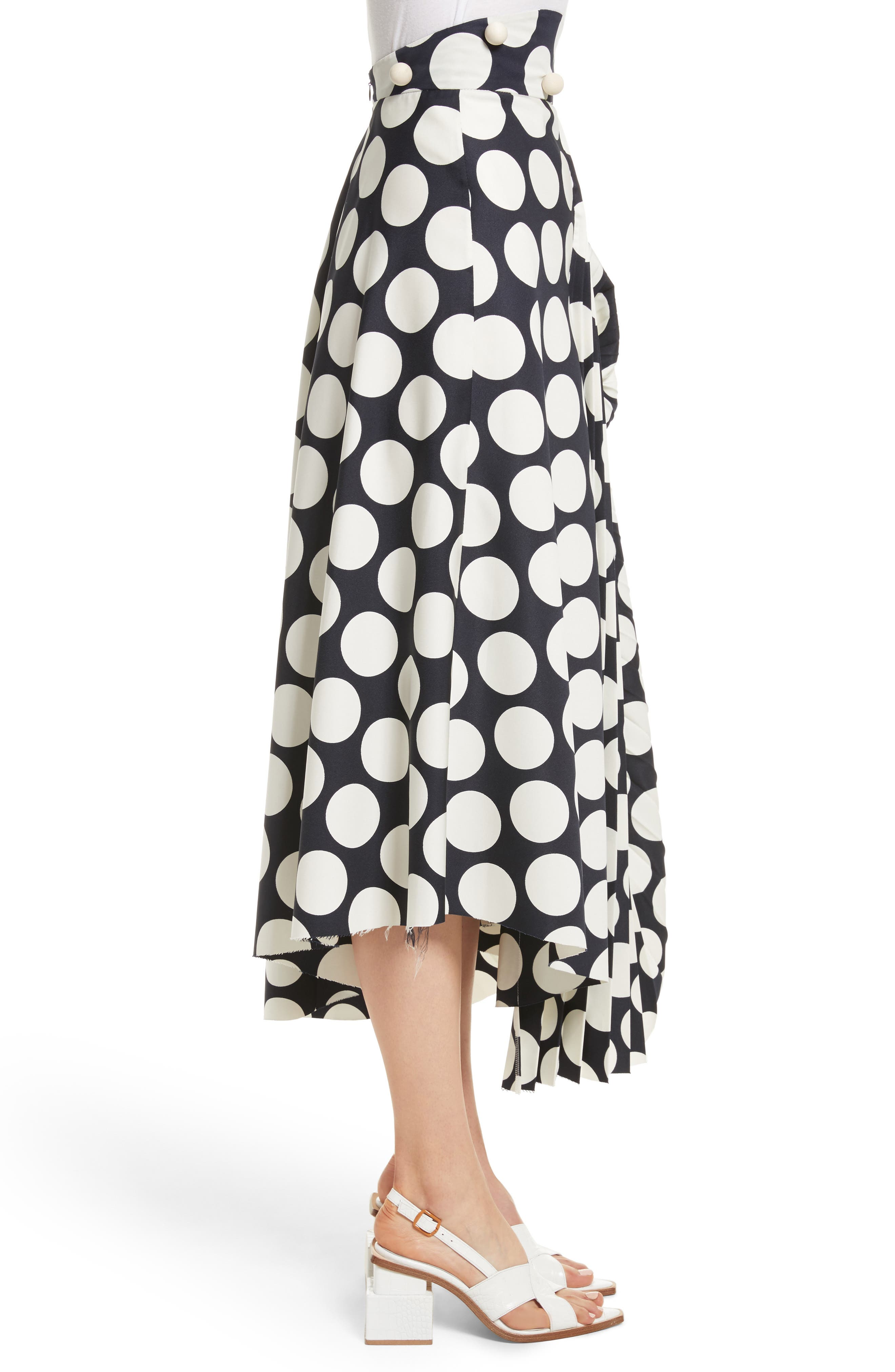 Giant Polka Dot Pleated Skirt,                             Alternate thumbnail 4, color,                             Navy/ Off-White