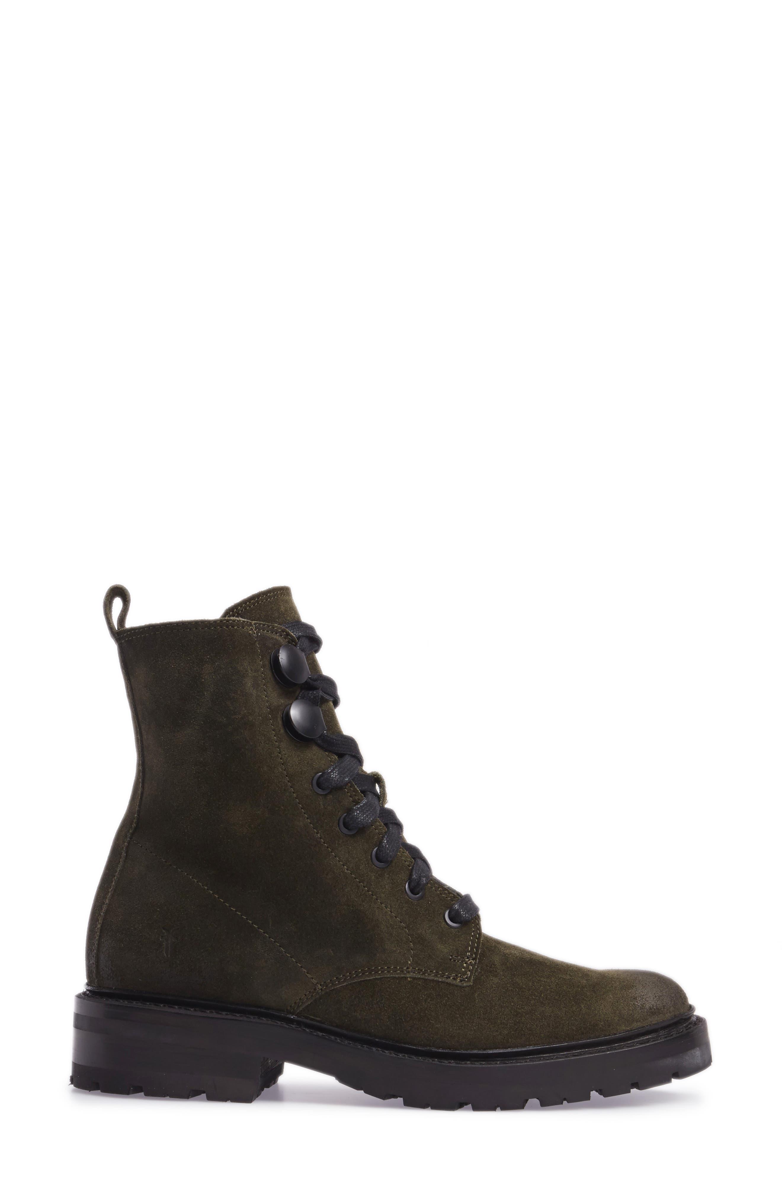 Julie Hook Combat Boot,                             Alternate thumbnail 3, color,                             Forest