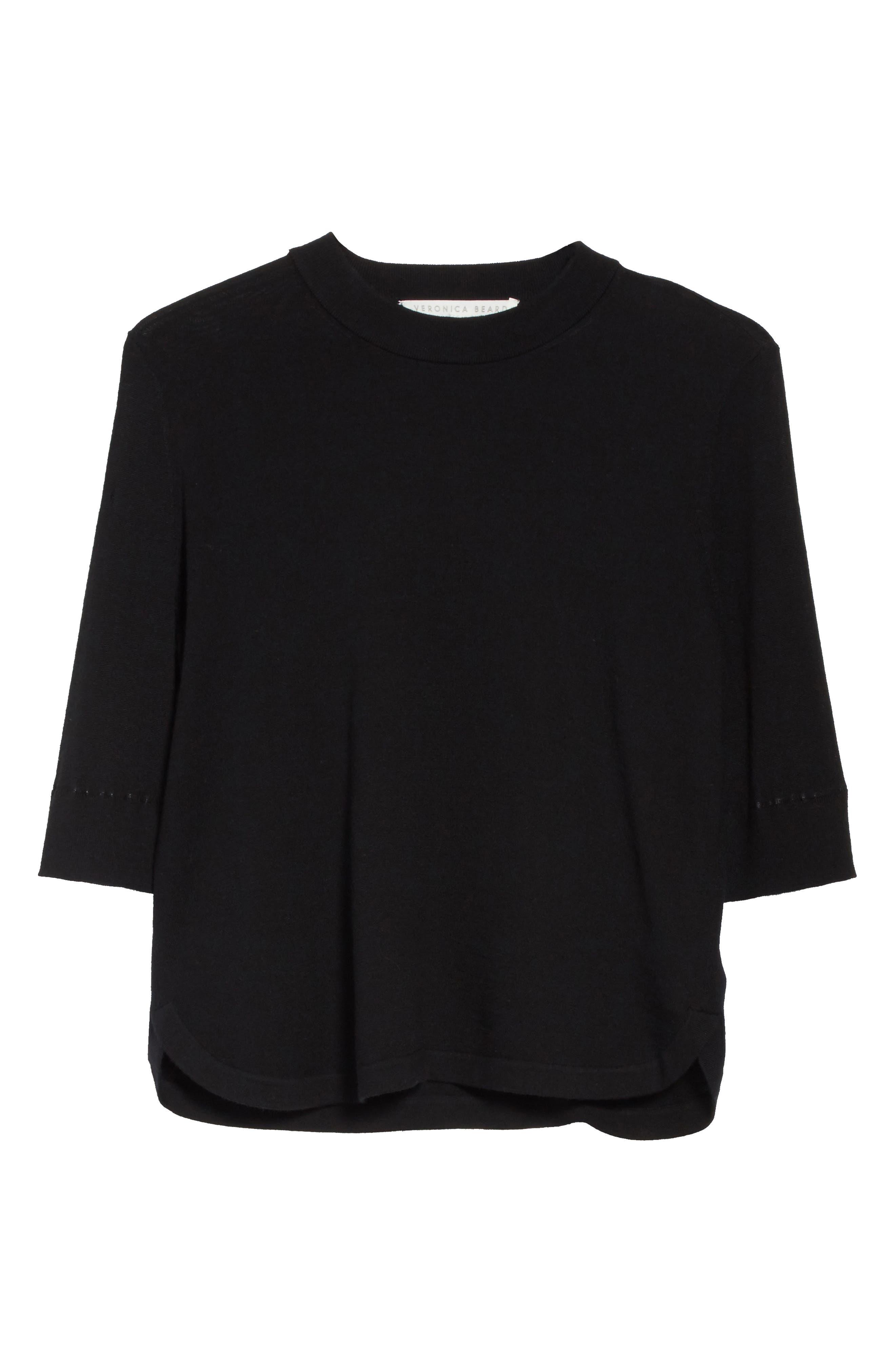 Roscoe Mixed Media Sweater,                             Alternate thumbnail 6, color,                             Black
