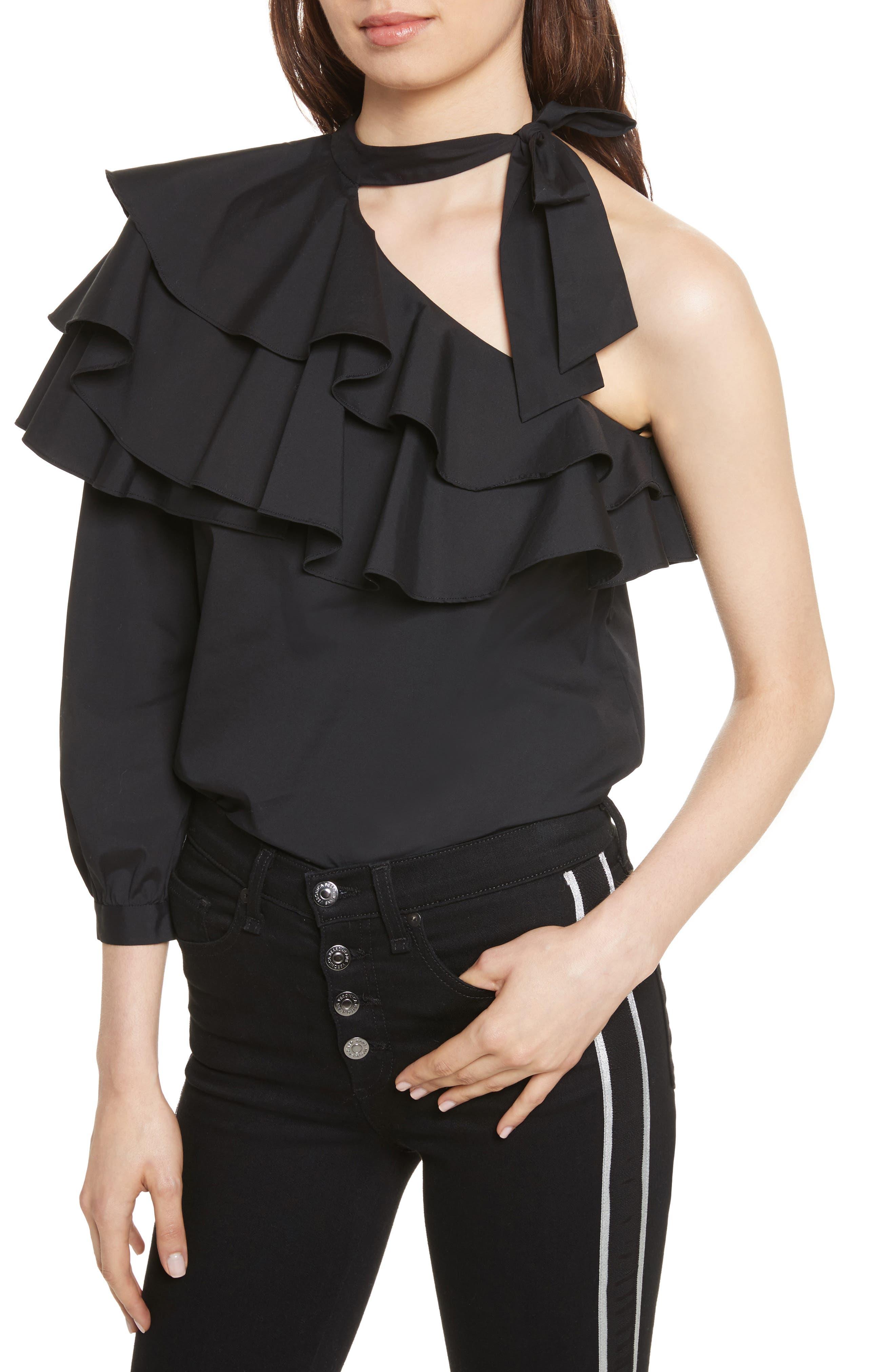 Alternate Image 4  - Veronica Beard Gigi Ruffle One-Shoulder Top