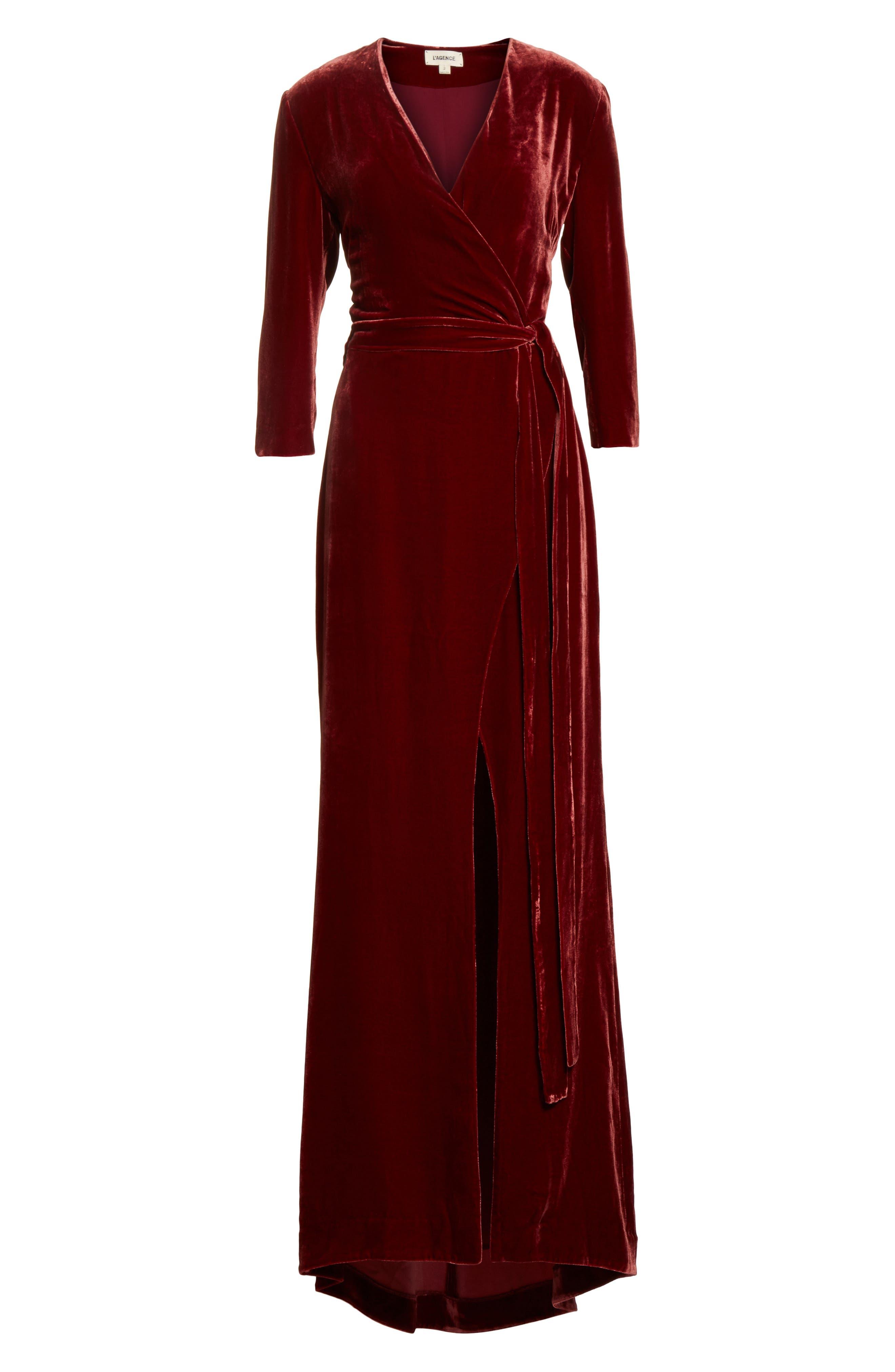 Rosalind Velvet Maxi Wrap Dress,                             Alternate thumbnail 6, color,                             Ruby