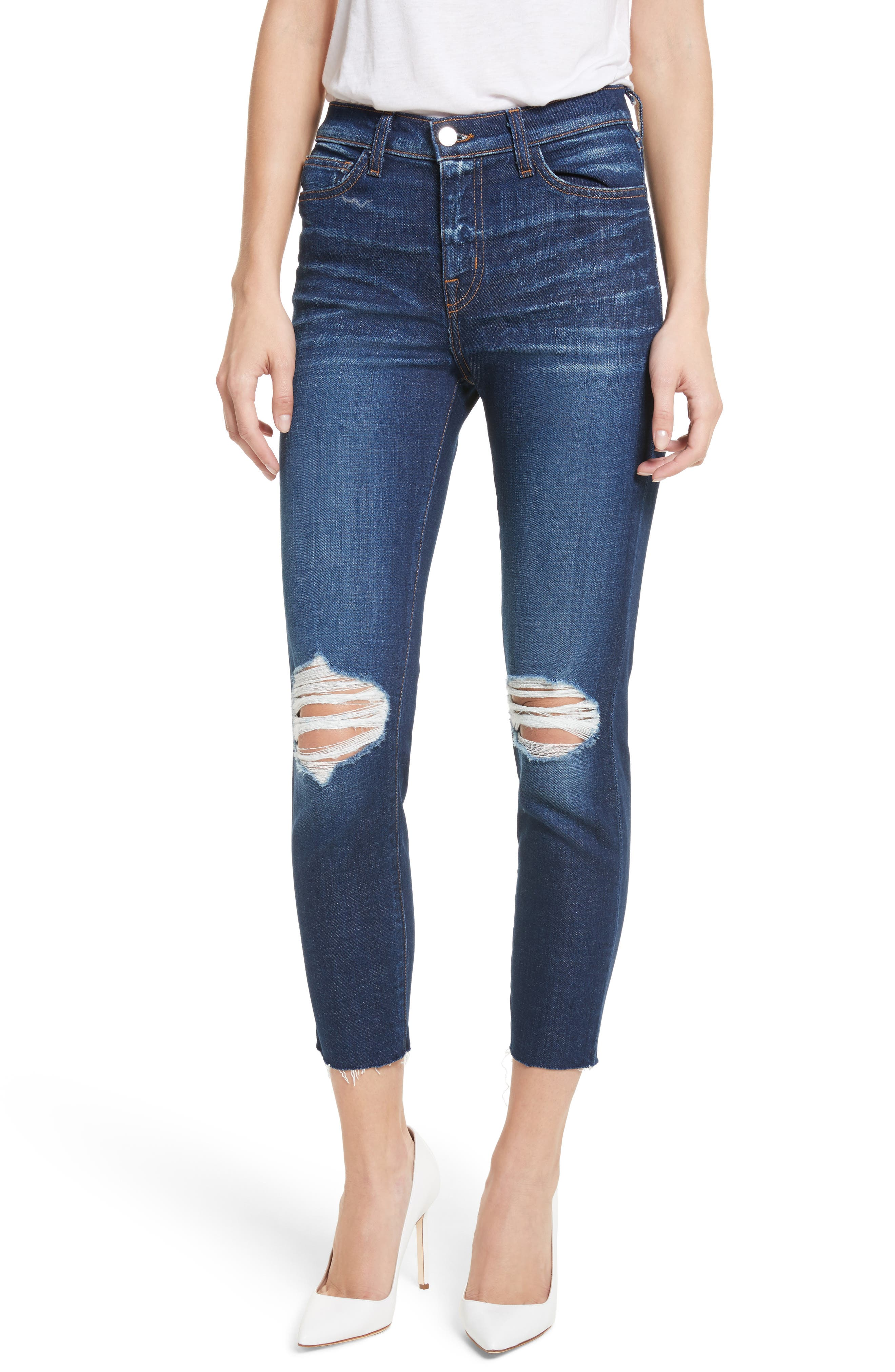 Abigail French Slim Ripped Skinny Jeans,                         Main,                         color, Dark Diamond Destruct