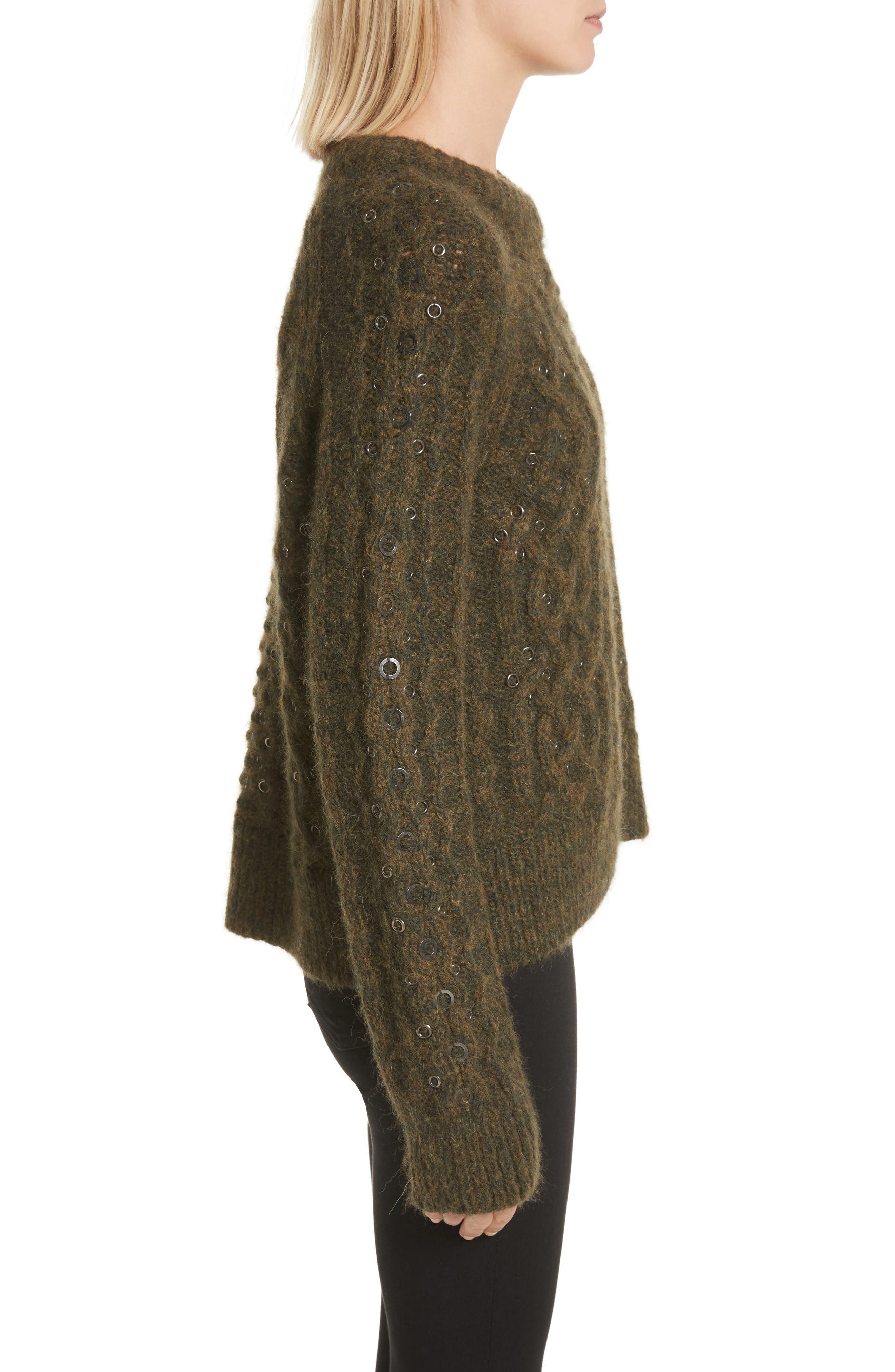 Jemima Wool & Alpaca Blend Beaded Sweater,                             Alternate thumbnail 3, color,                             Army