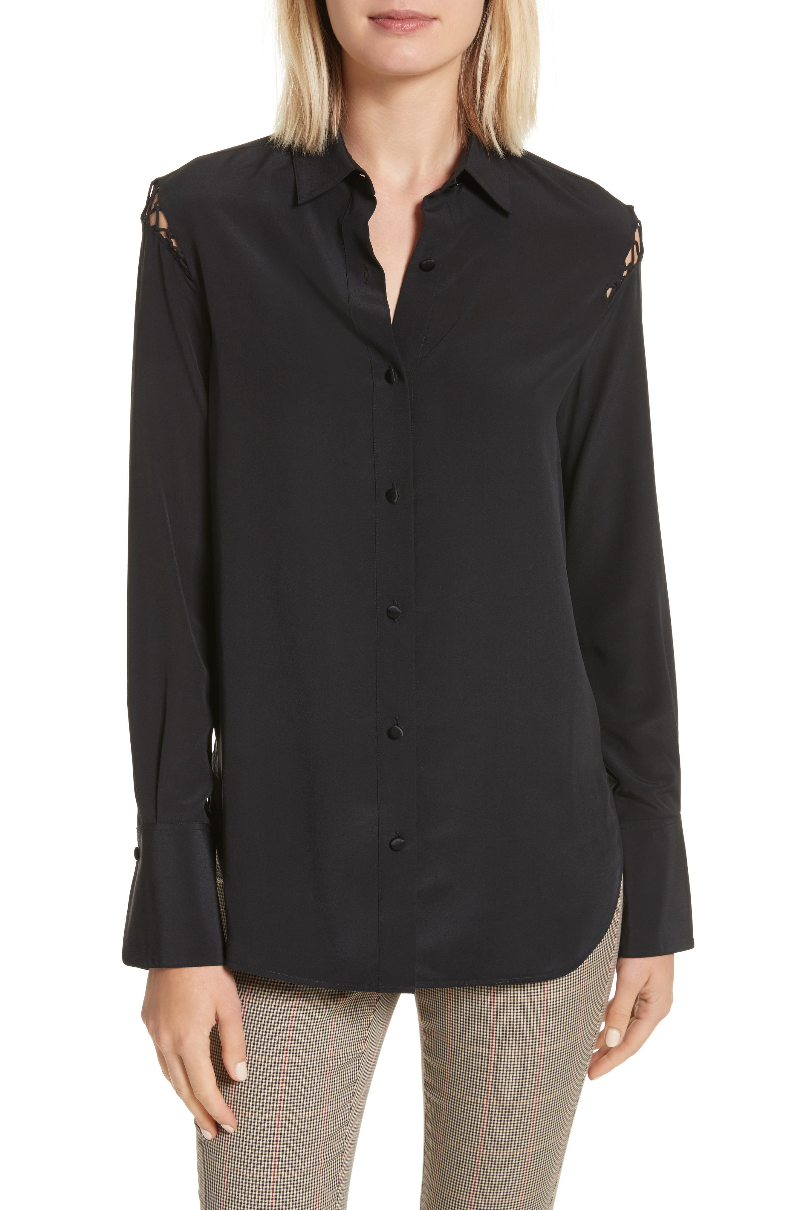 Hana Silk Blouse,                         Main,                         color, Black