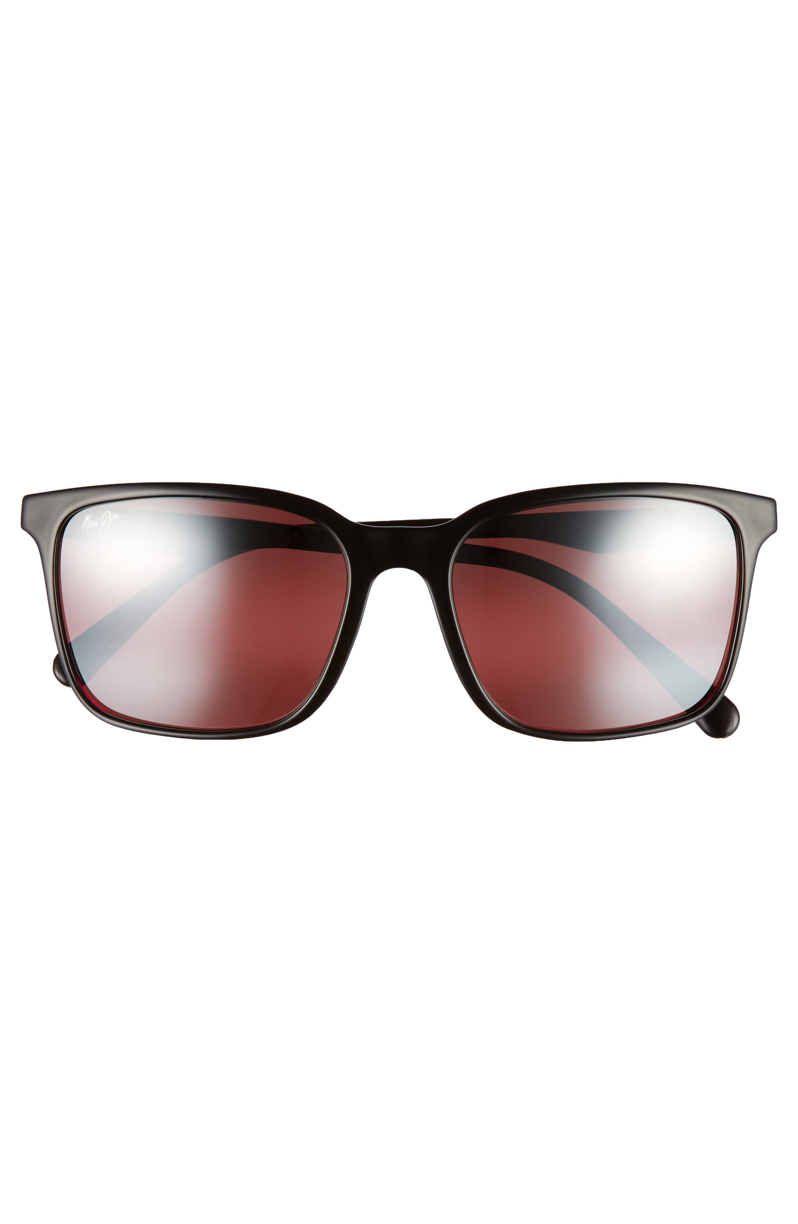 Wild Coast 56mm Polarized Sunglasses,                             Alternate thumbnail 2, color,                             Black With Red/ Maui Rose