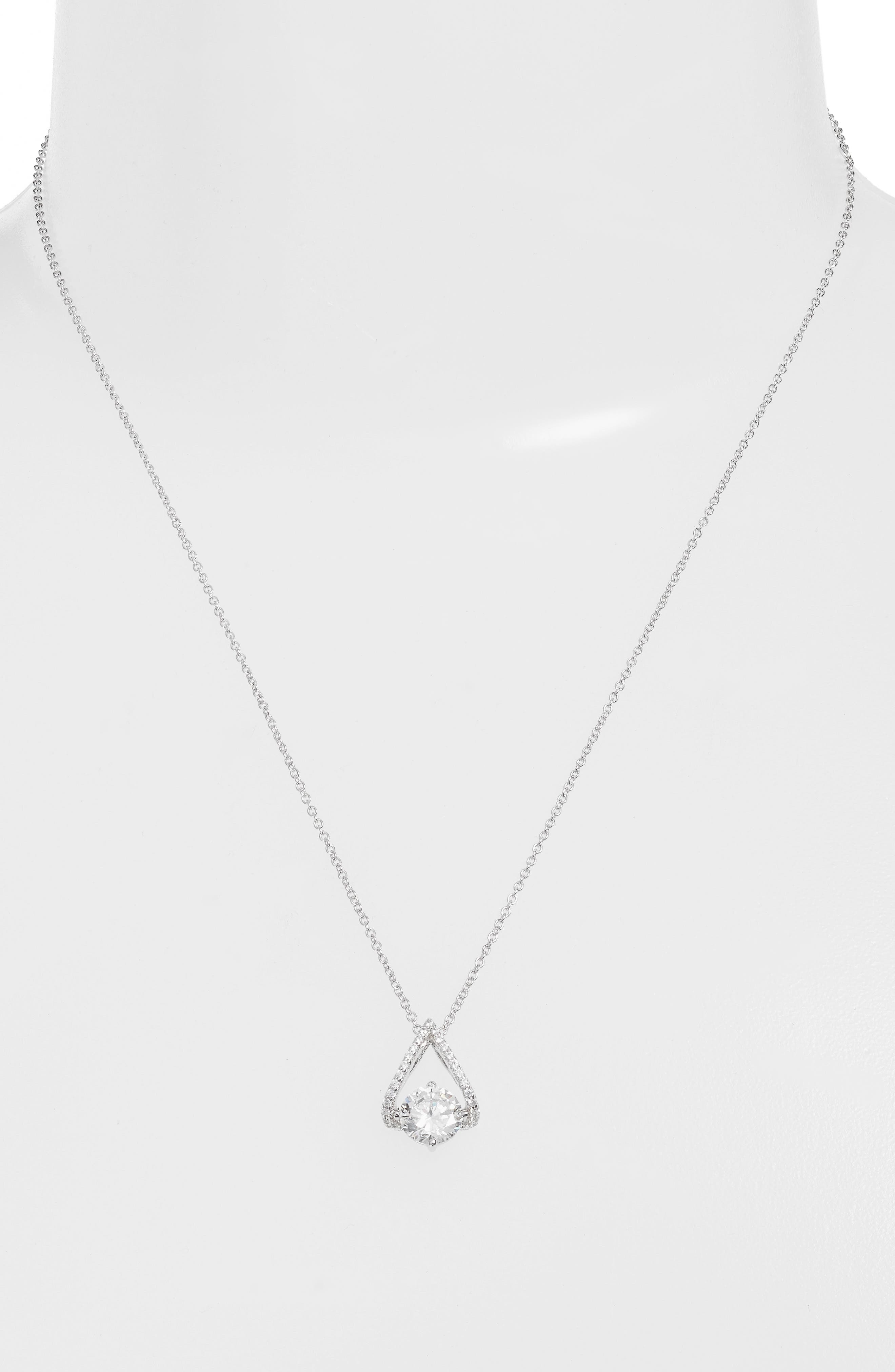Simulated Diamond Pendant Necklace,                             Alternate thumbnail 2, color,                             Silver/ Clear