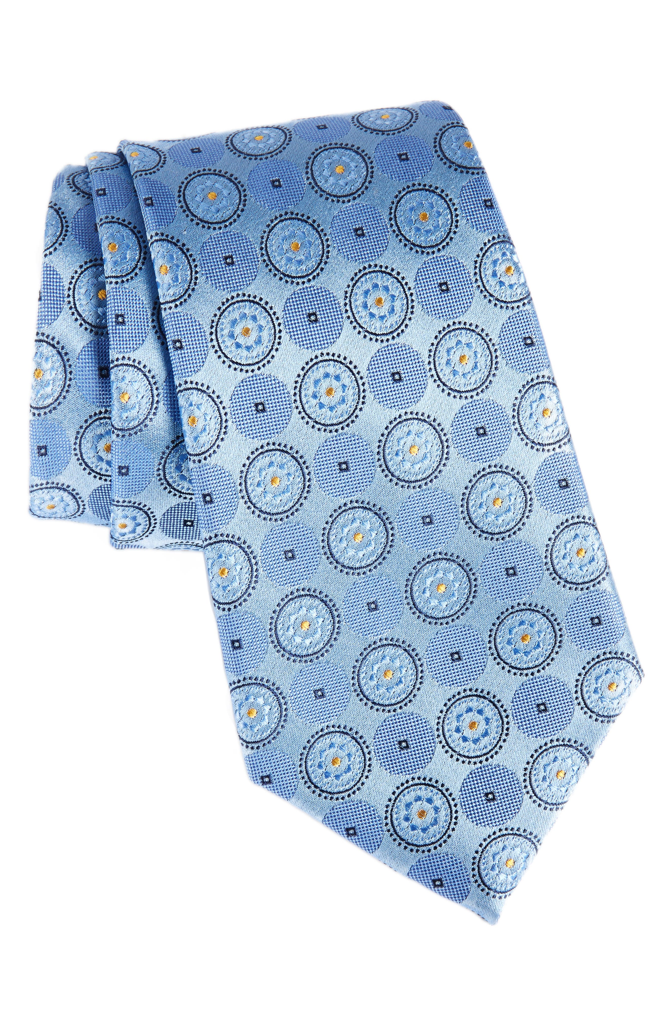 Old English Medallion Silk Tie,                         Main,                         color, Light Blue