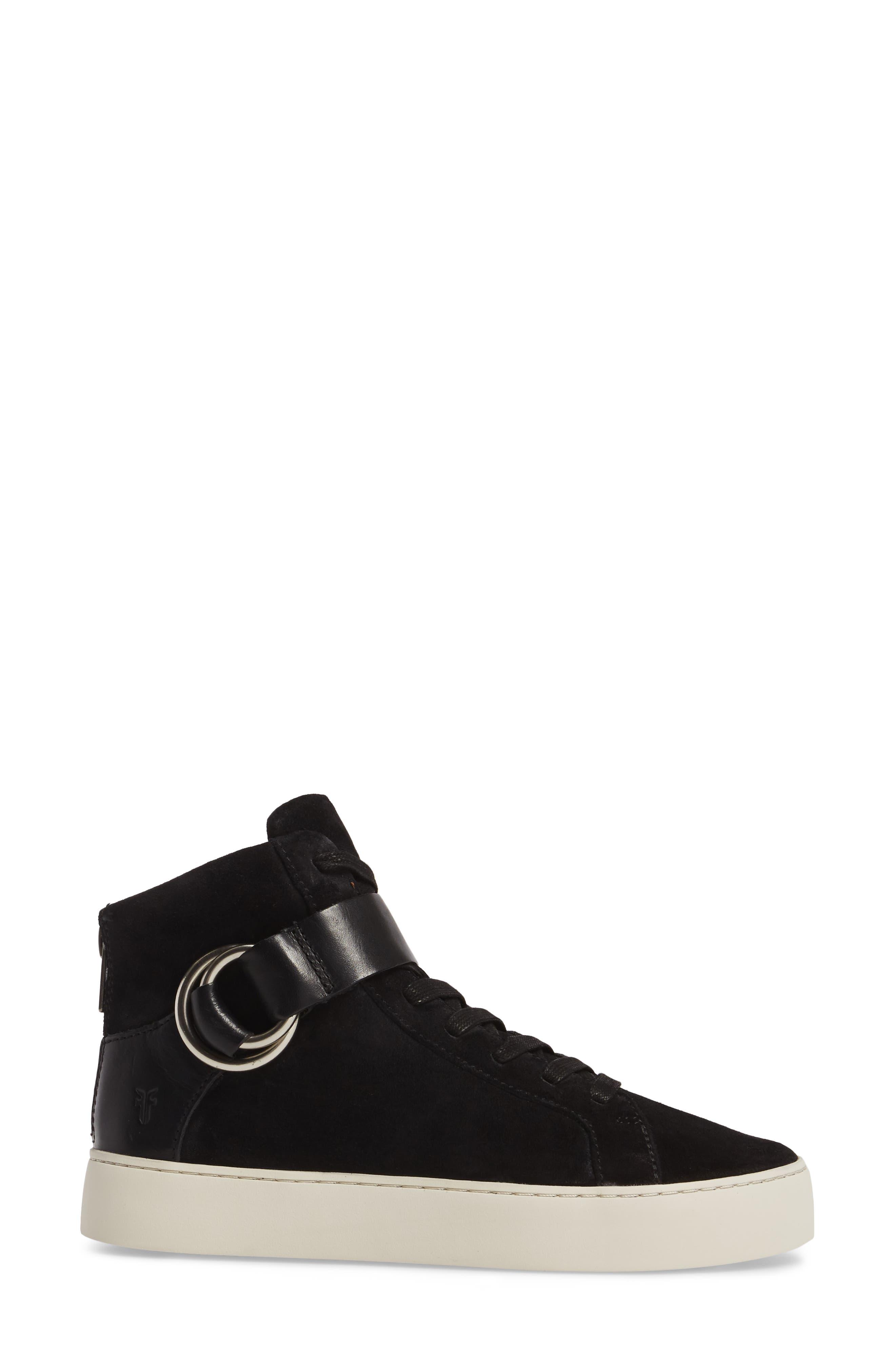 Lena Harness Sneaker,                             Alternate thumbnail 3, color,                             Black