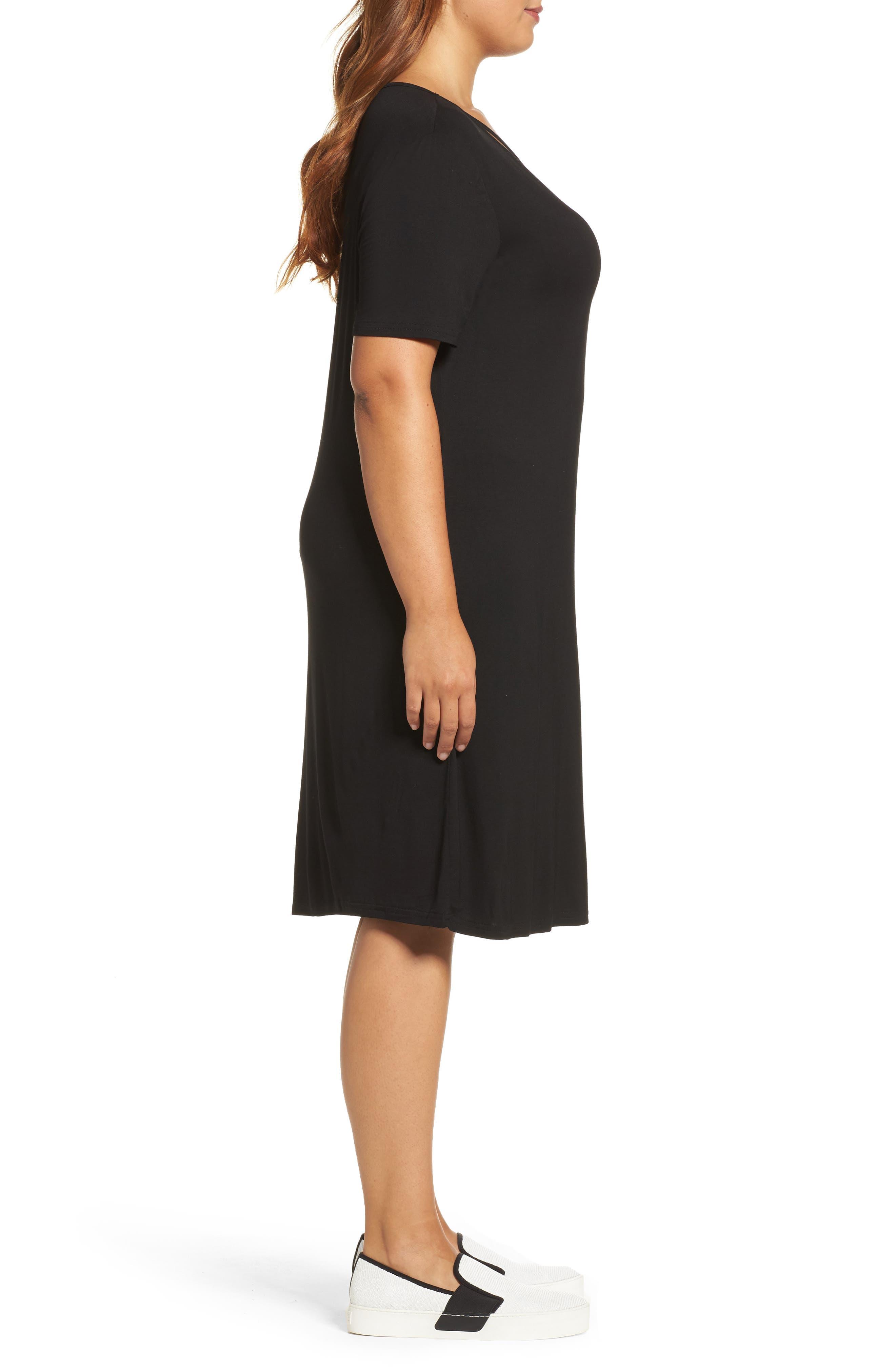 Crisscross Neck T-Shirt Dress,                             Alternate thumbnail 3, color,                             Black