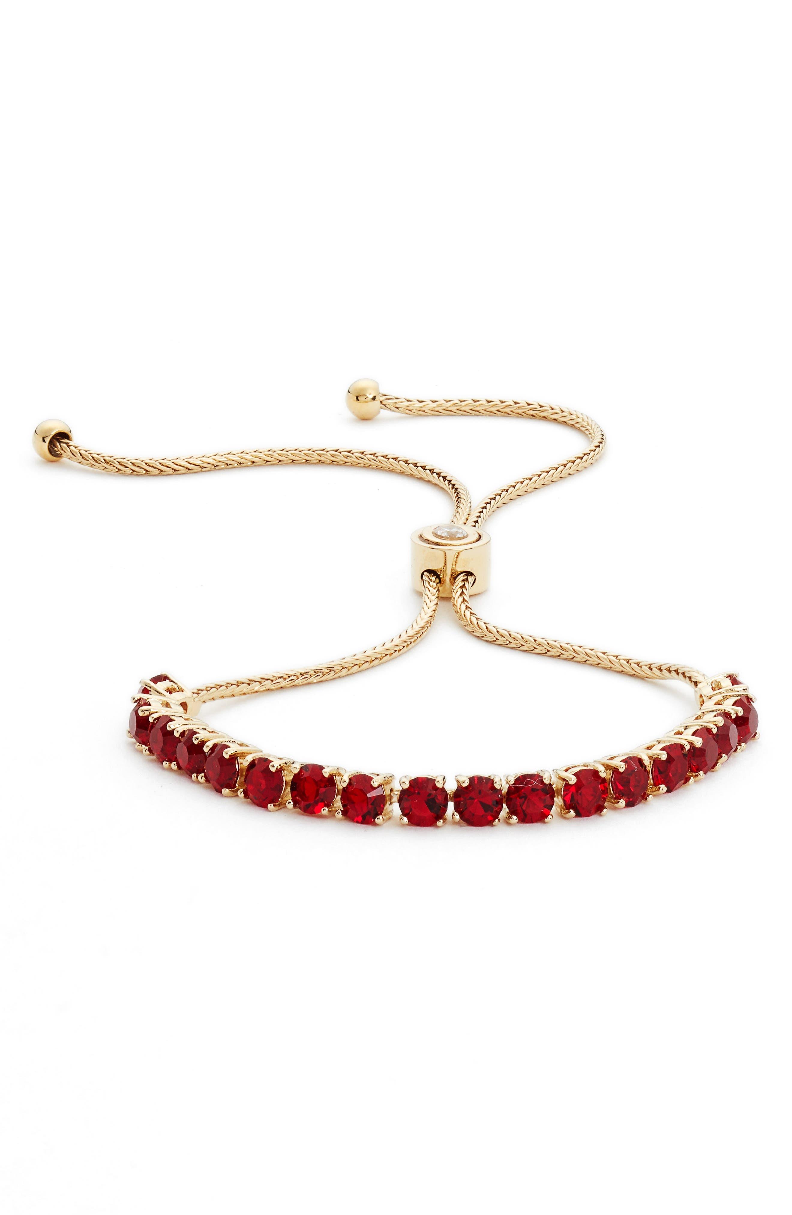 Adjustable Crystal Bracelet,                         Main,                         color, Red/ Gold