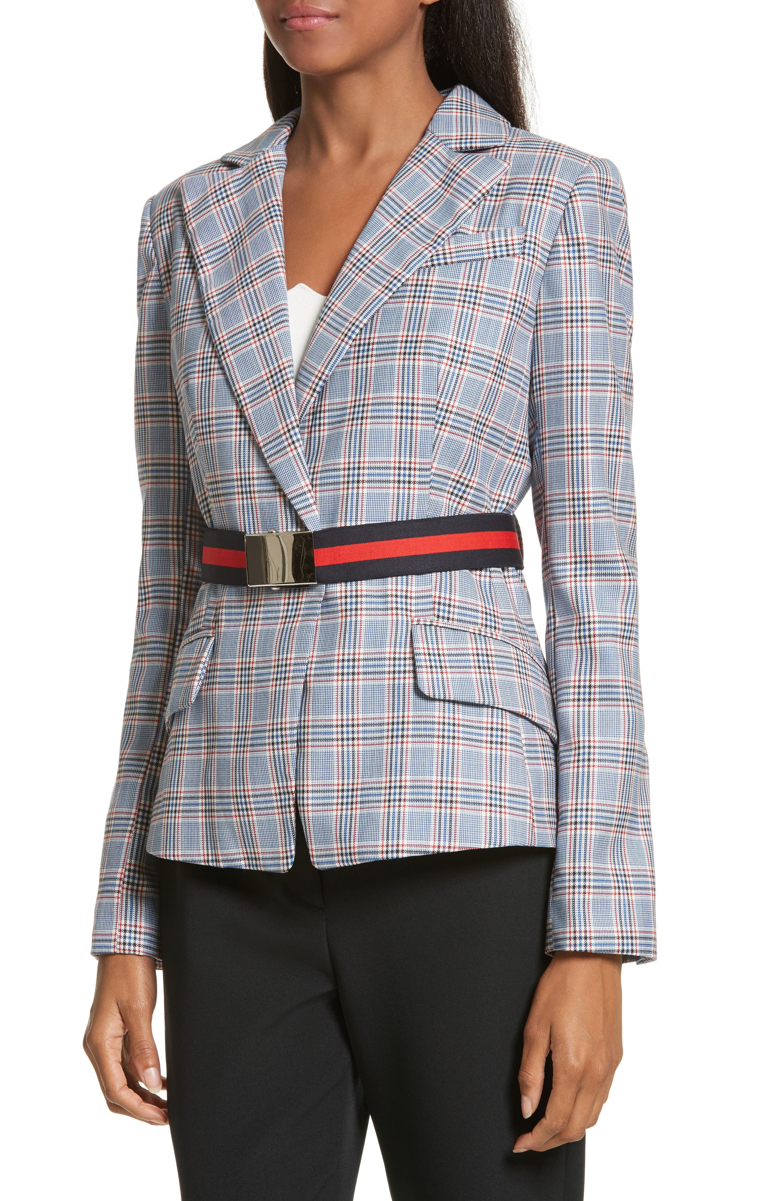 Check Suiting Belted Blazer,                             Alternate thumbnail 4, color,                             Multi