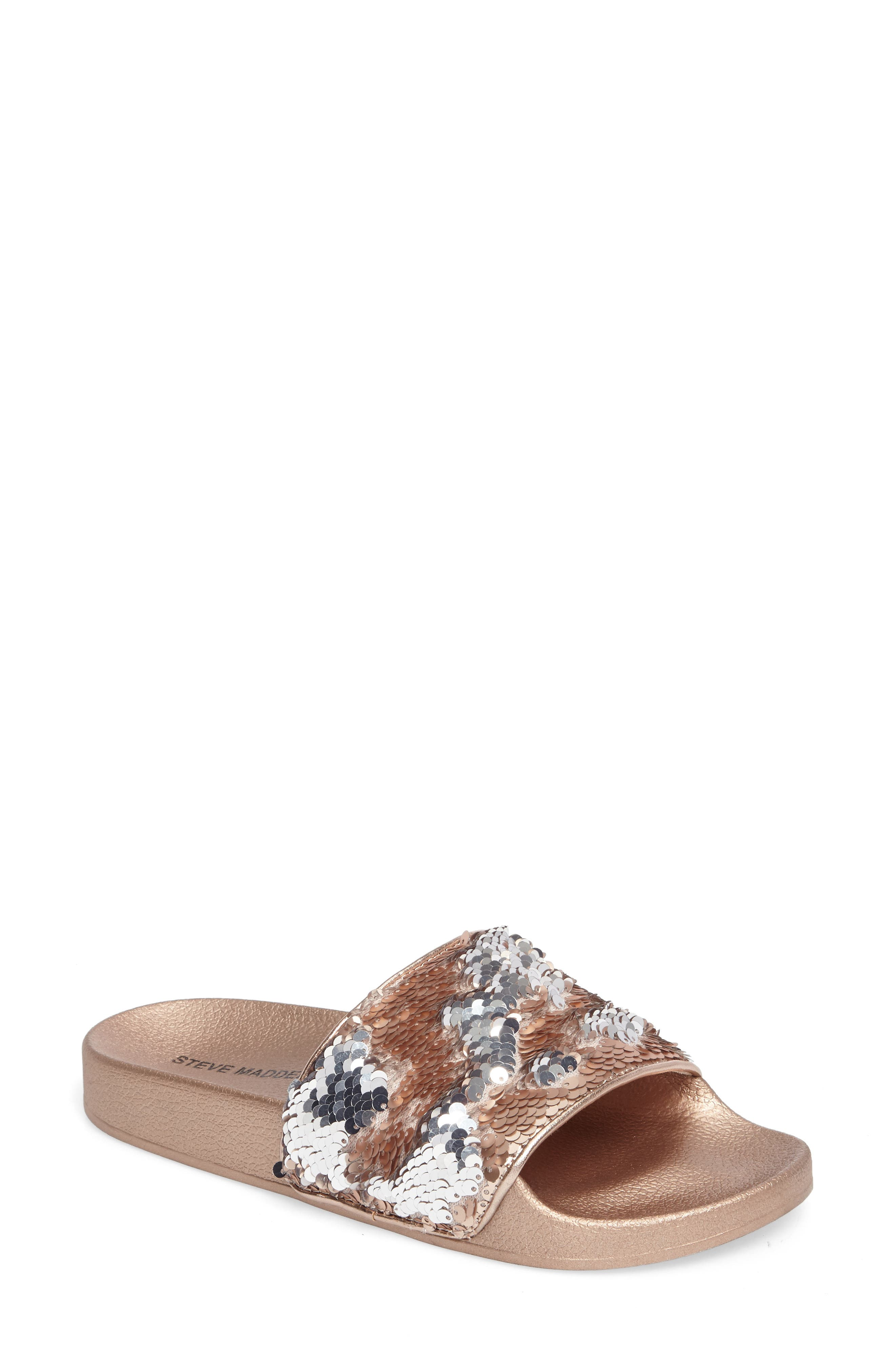Alternate Image 1 Selected - Steve Madden Softey Sequin Slide Sandal (Women)