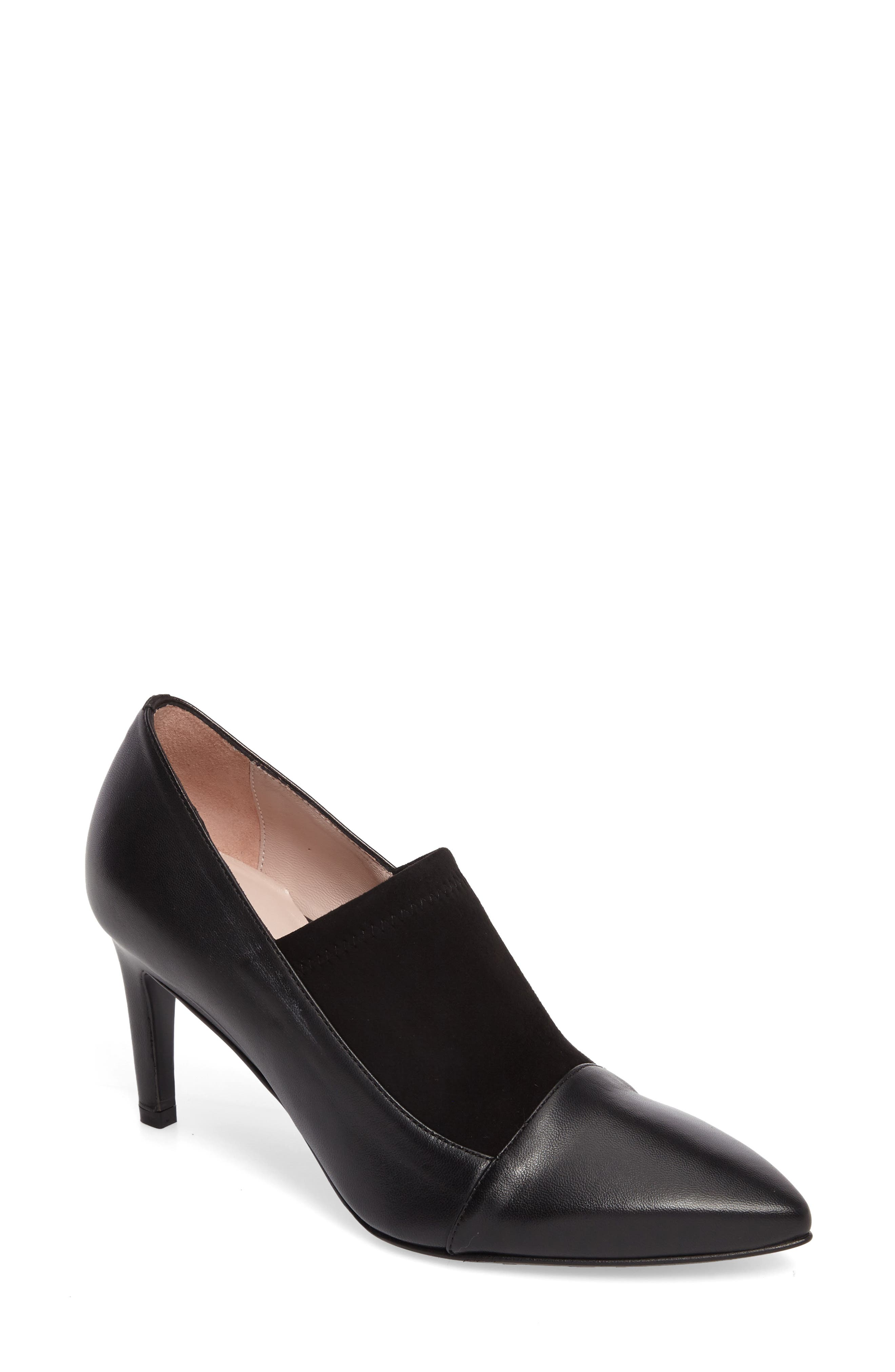 Ghita Pointy Toe Pump,                         Main,                         color, Black Leather