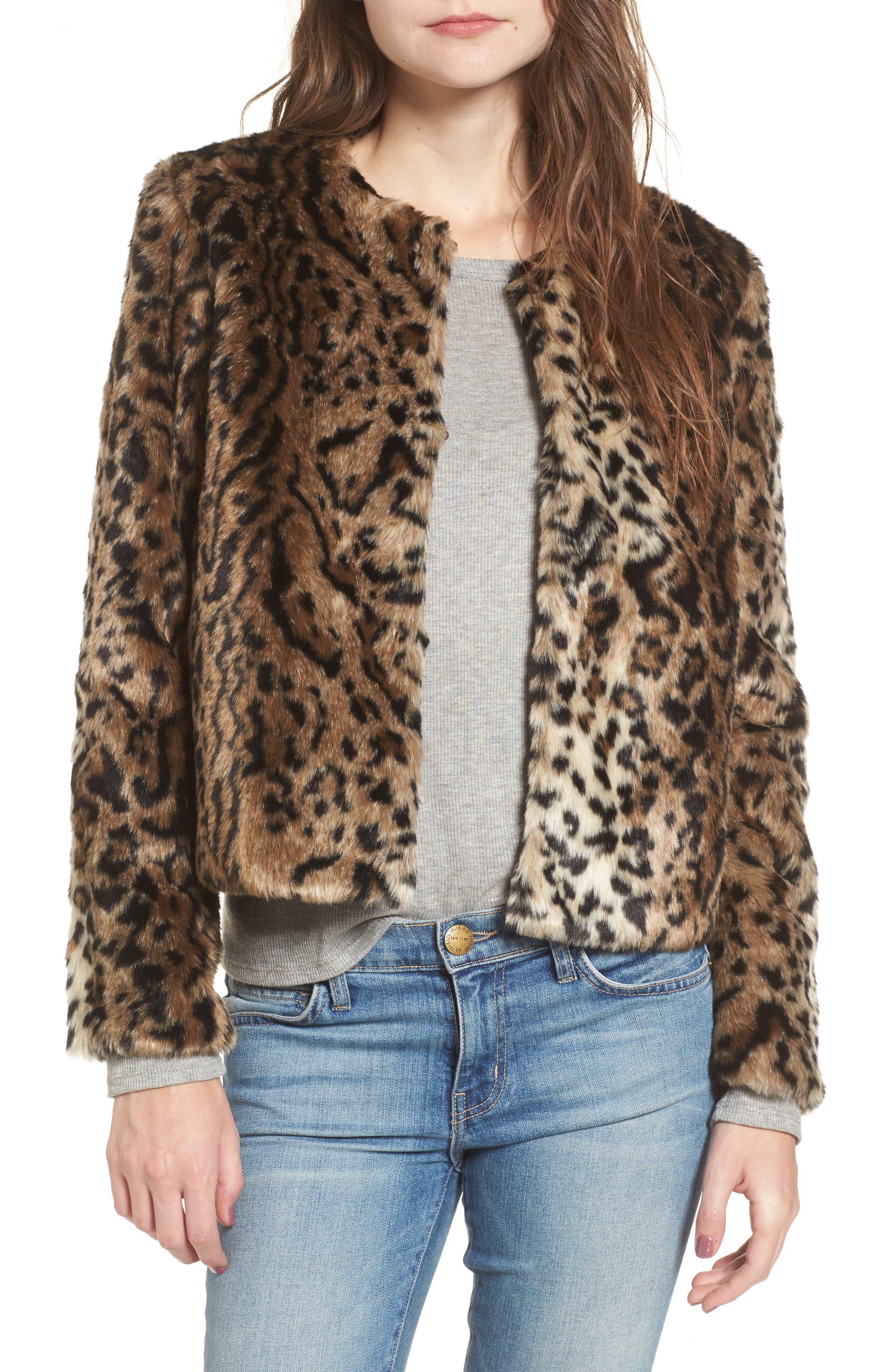 McKinley Leopard Print Faux Fur Jacket,                         Main,                         color, Brown