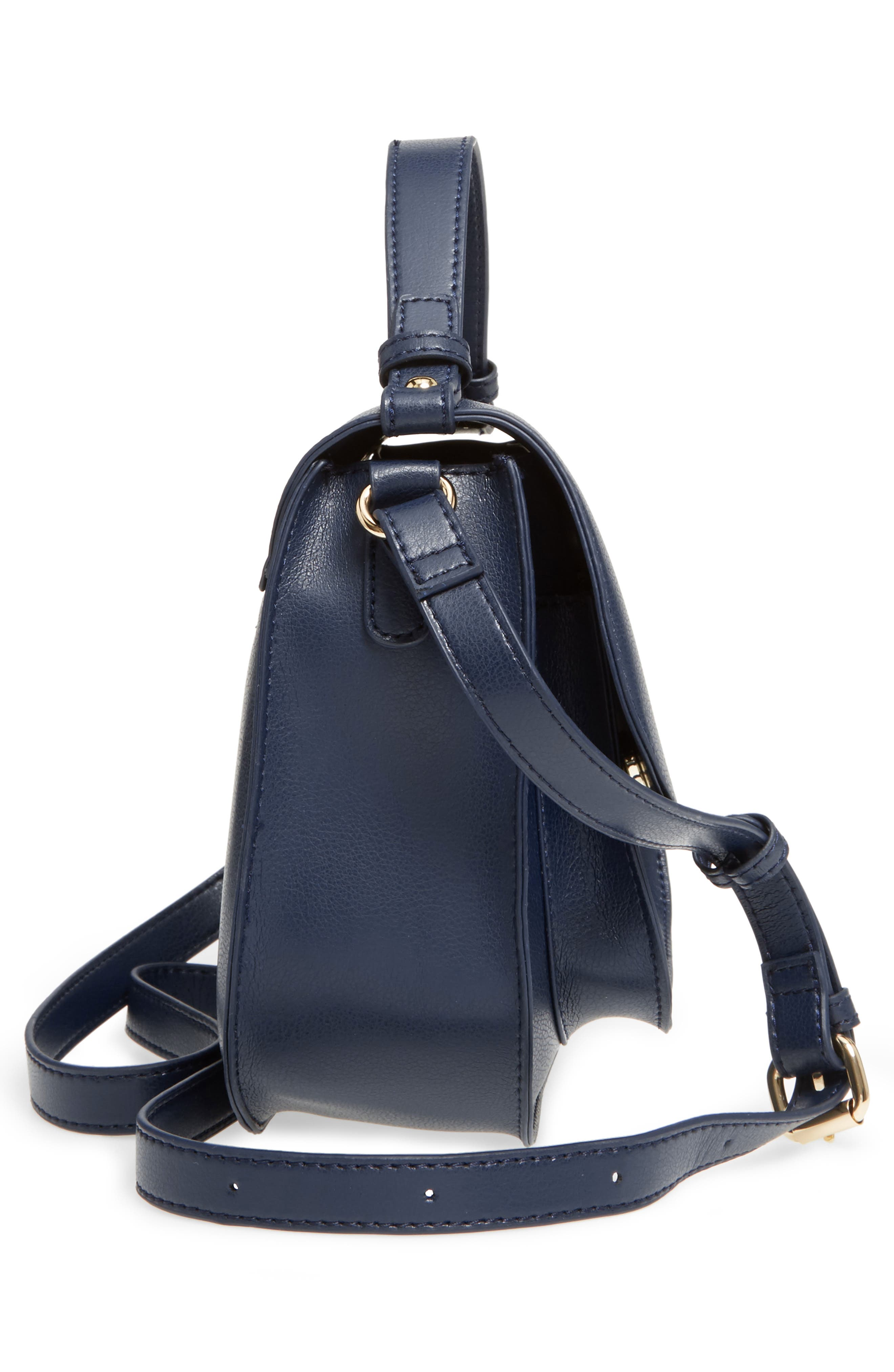 Faux Leather Crossbody Bag,                             Alternate thumbnail 3, color,                             Midnight