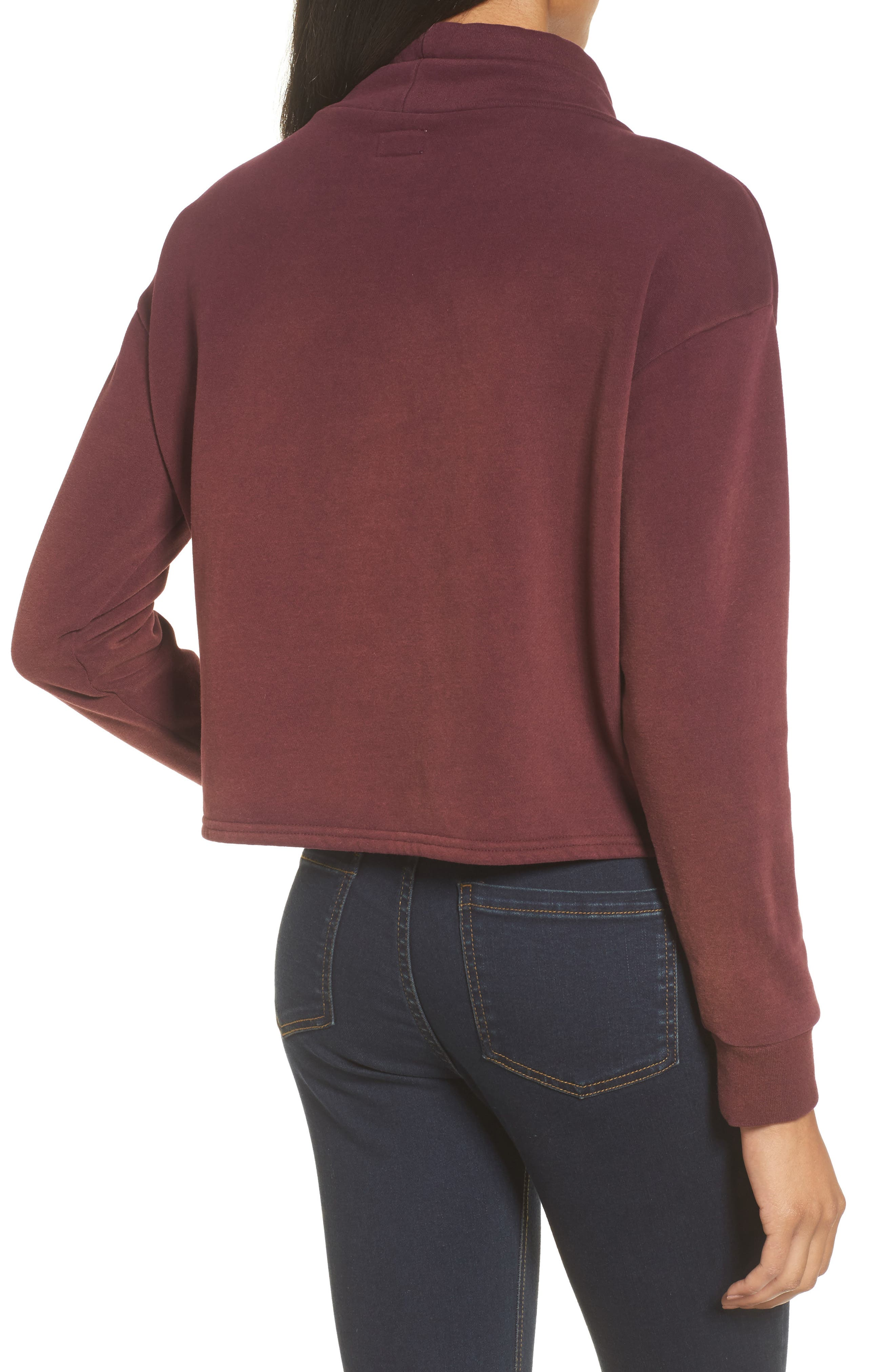 Smudged Crop Funnel Neck Sweatshirt,                             Alternate thumbnail 2, color,                             Wine Tasting