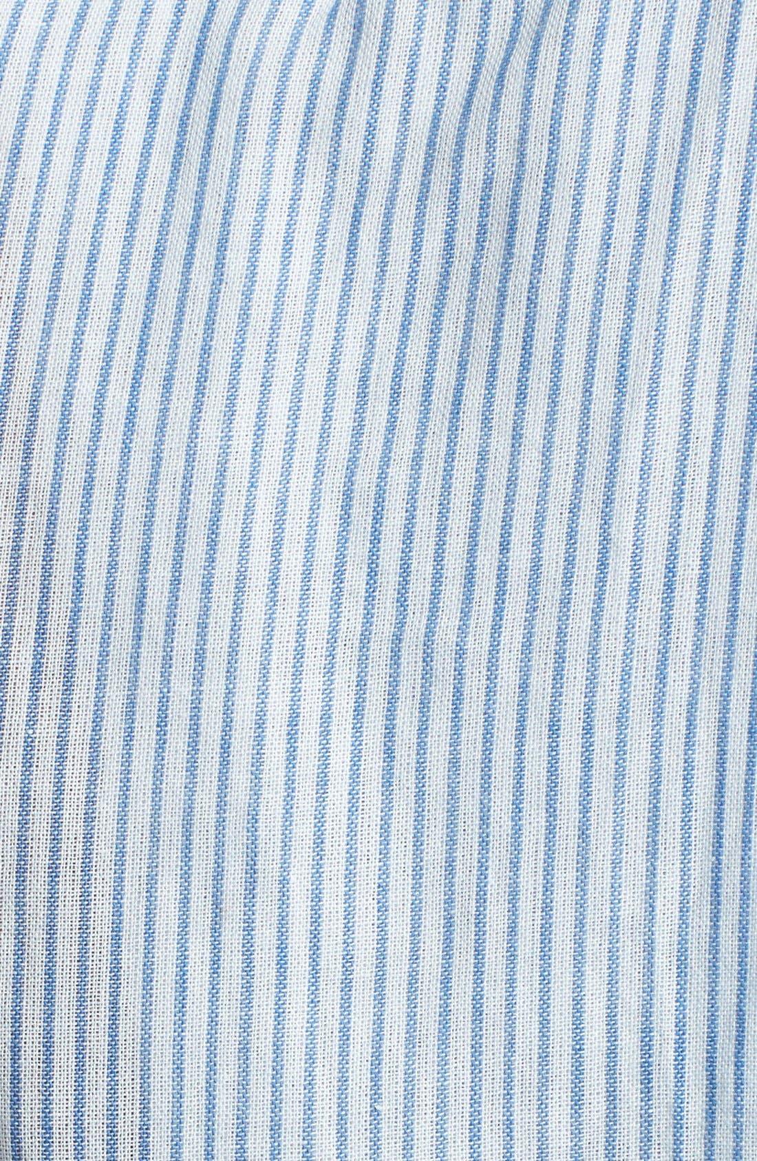 Back Pleat Pinstripe Shirt,                             Alternate thumbnail 3, color,                             Navy Stripe