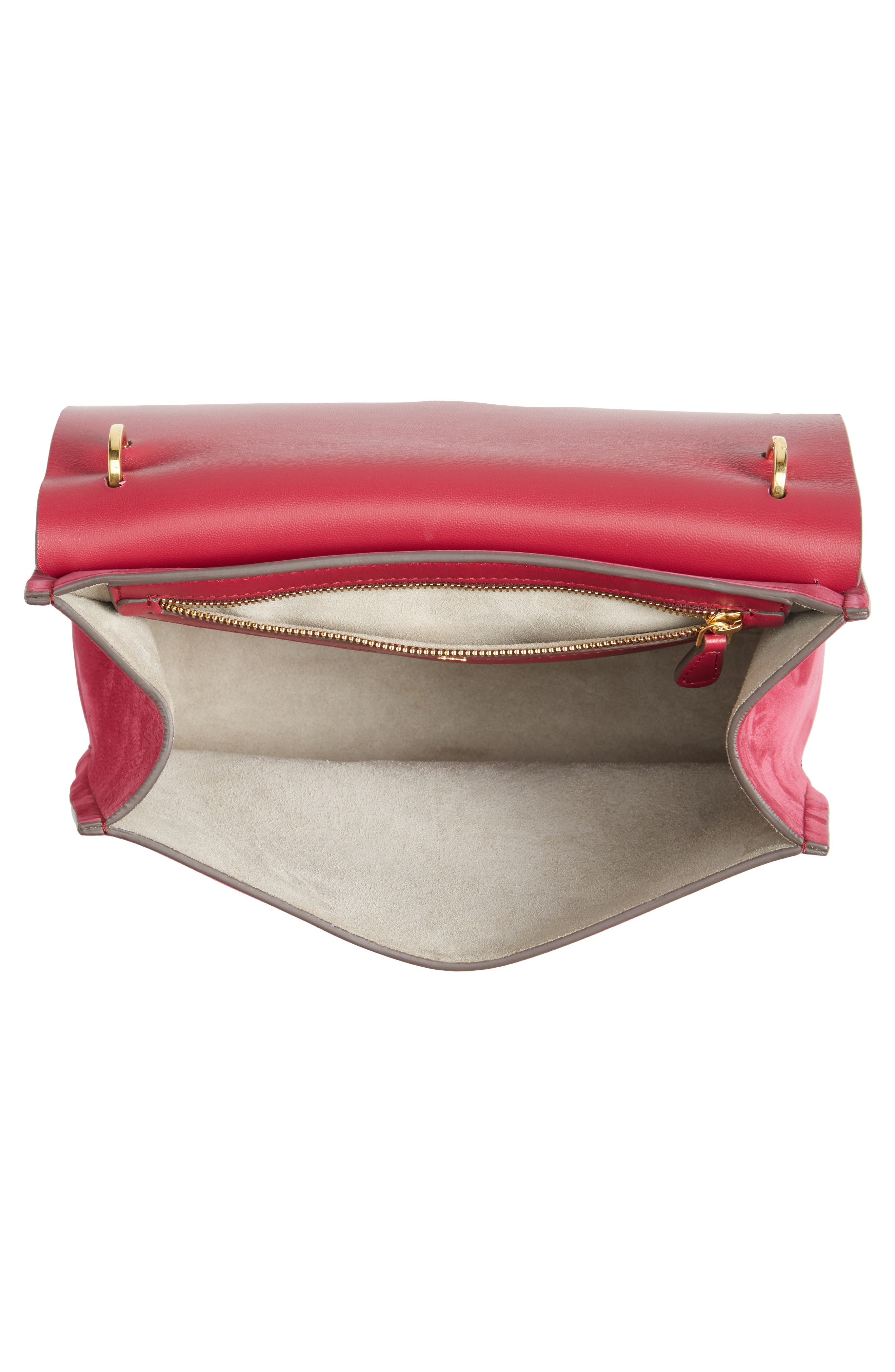Extra Small Bathhurst Heart Leather Shoulder Bag,                             Alternate thumbnail 4, color,                             Raspberry