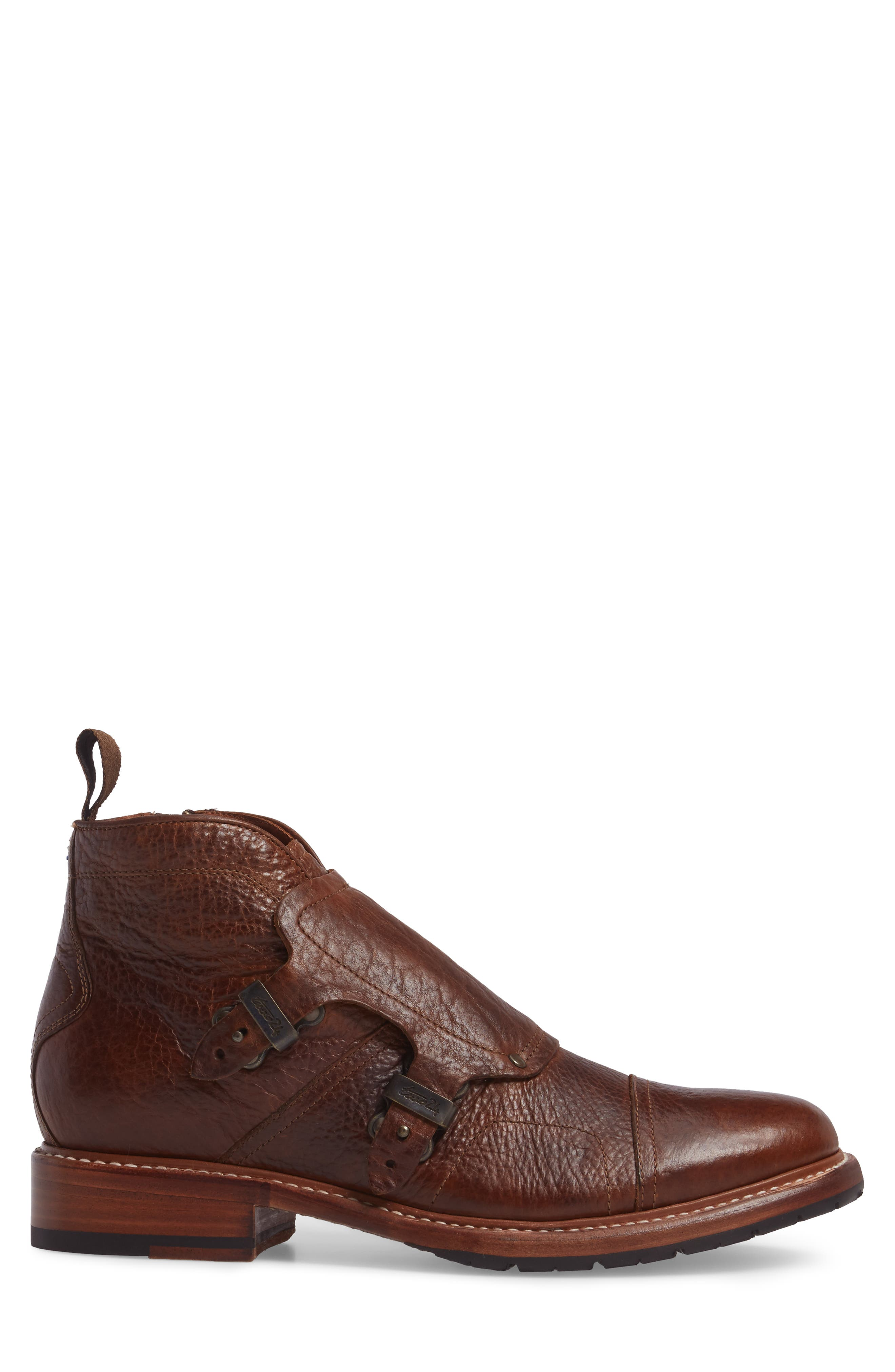Montclair Zip Boot,                             Alternate thumbnail 3, color,                             Brown Leather