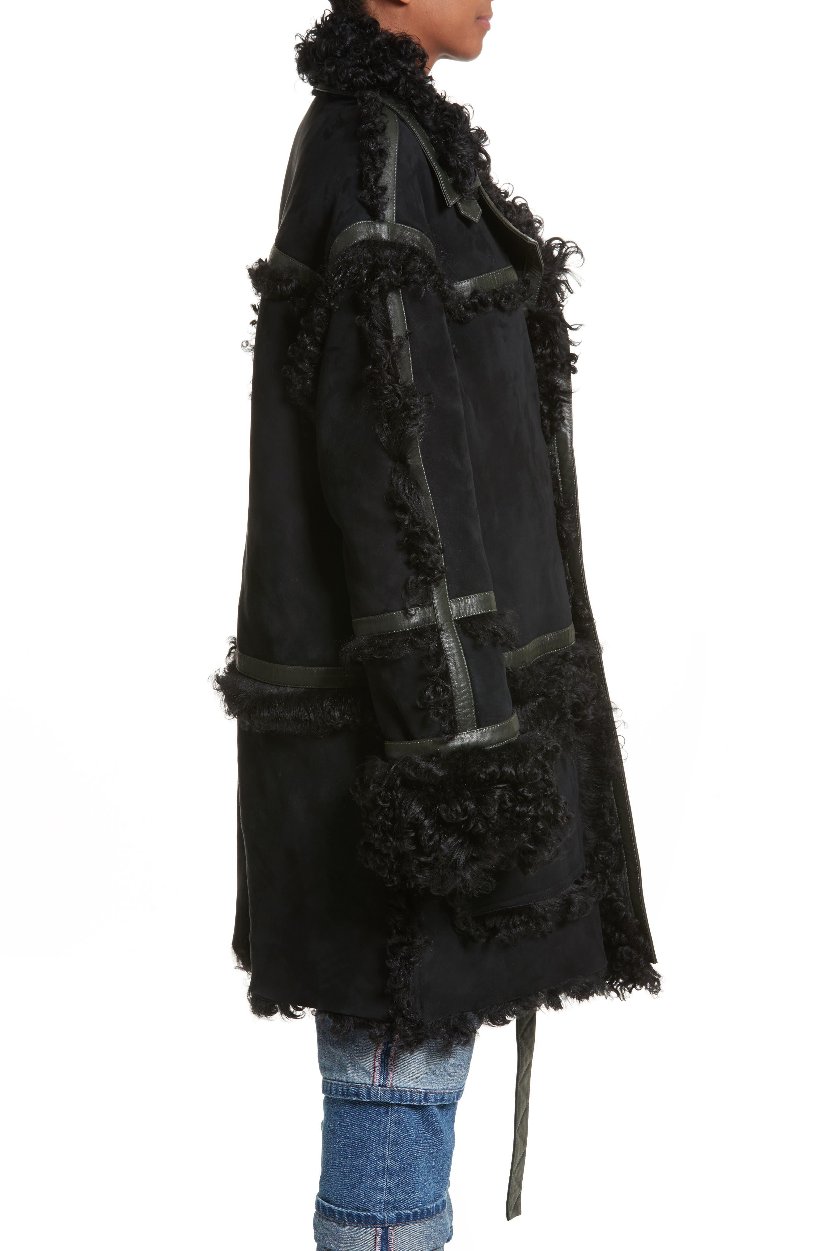 Genuine Shearling Coat,                             Alternate thumbnail 4, color,                             Noir