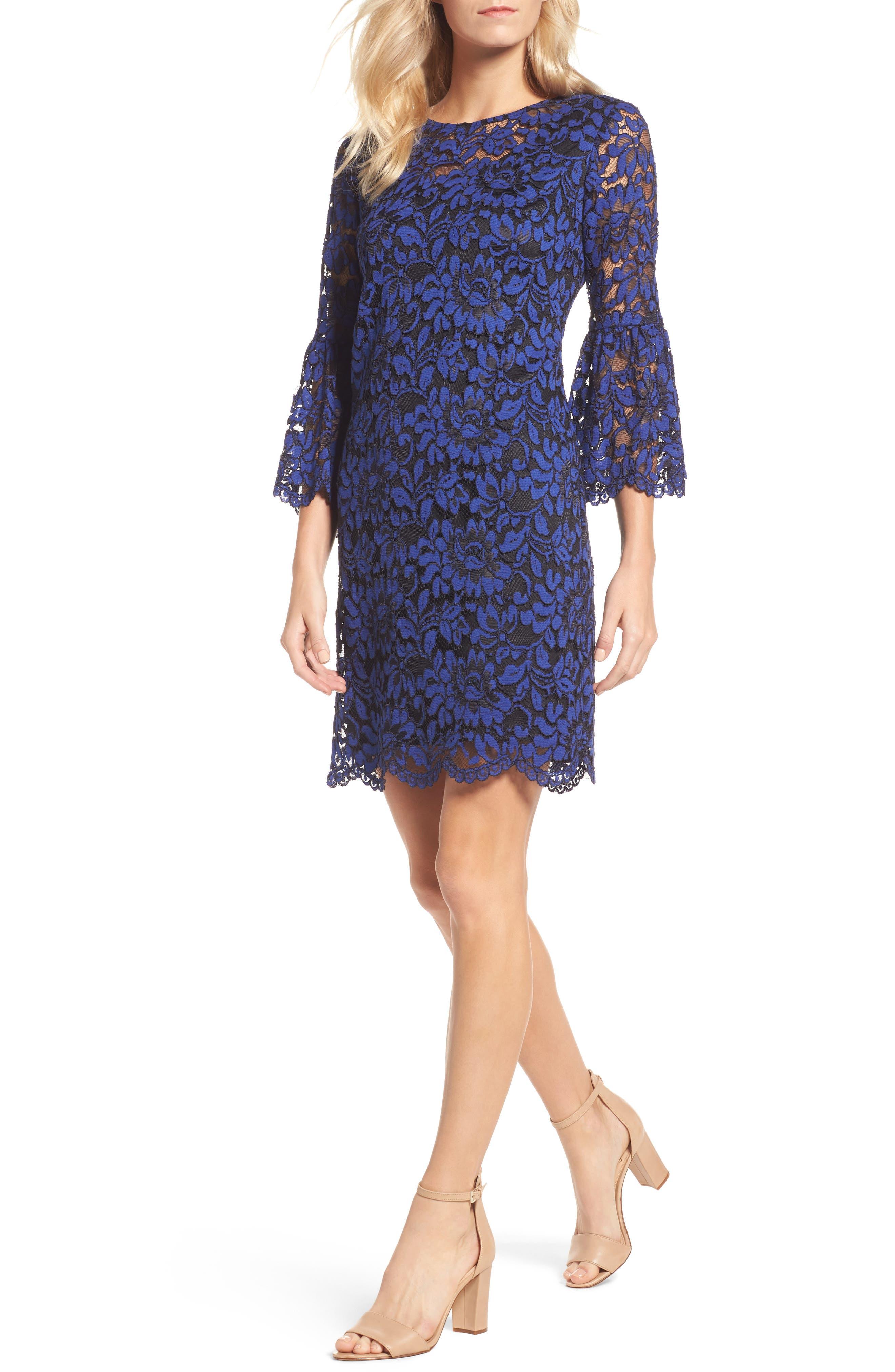 Bell Sleeve Lace Dress,                         Main,                         color, Black/ Lapis