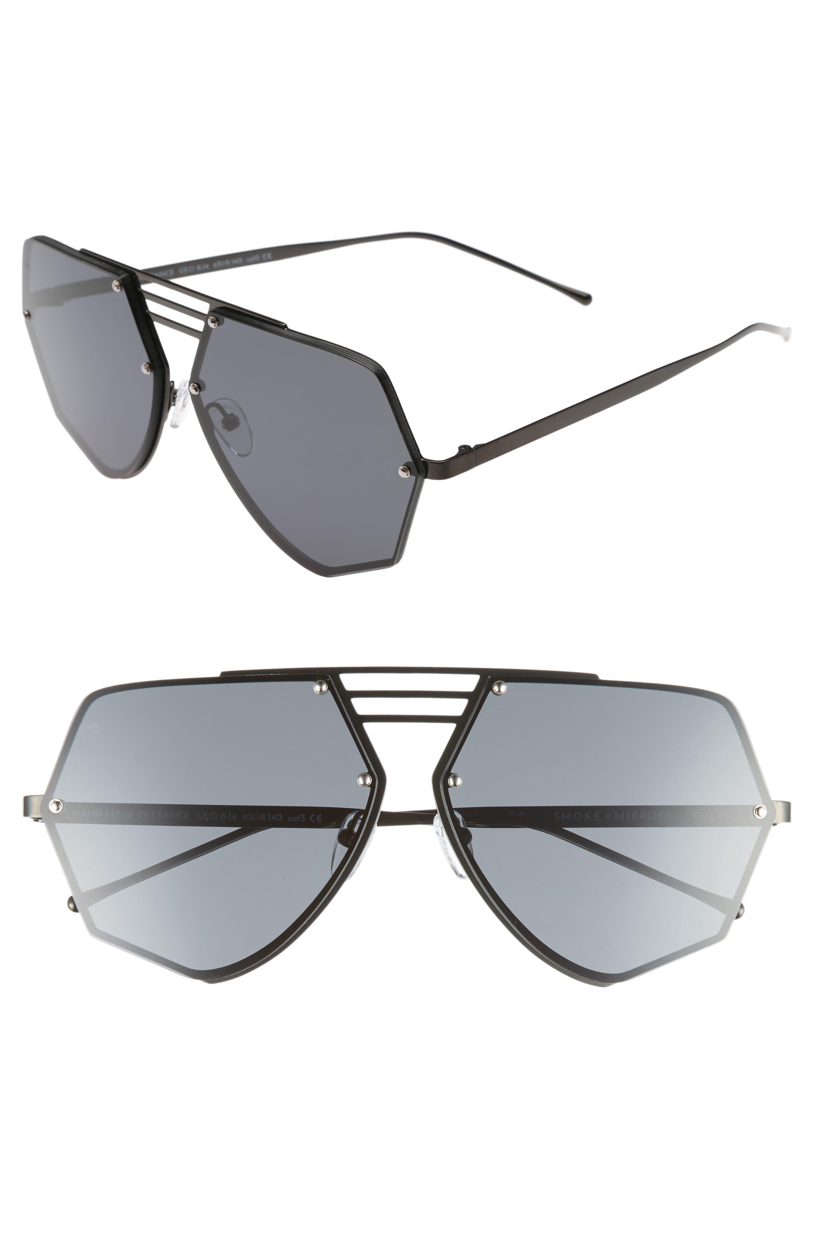Geo VIII 63mm Sunglasses,                             Main thumbnail 1, color,                             Dark Gunmetal/ Dark Grey