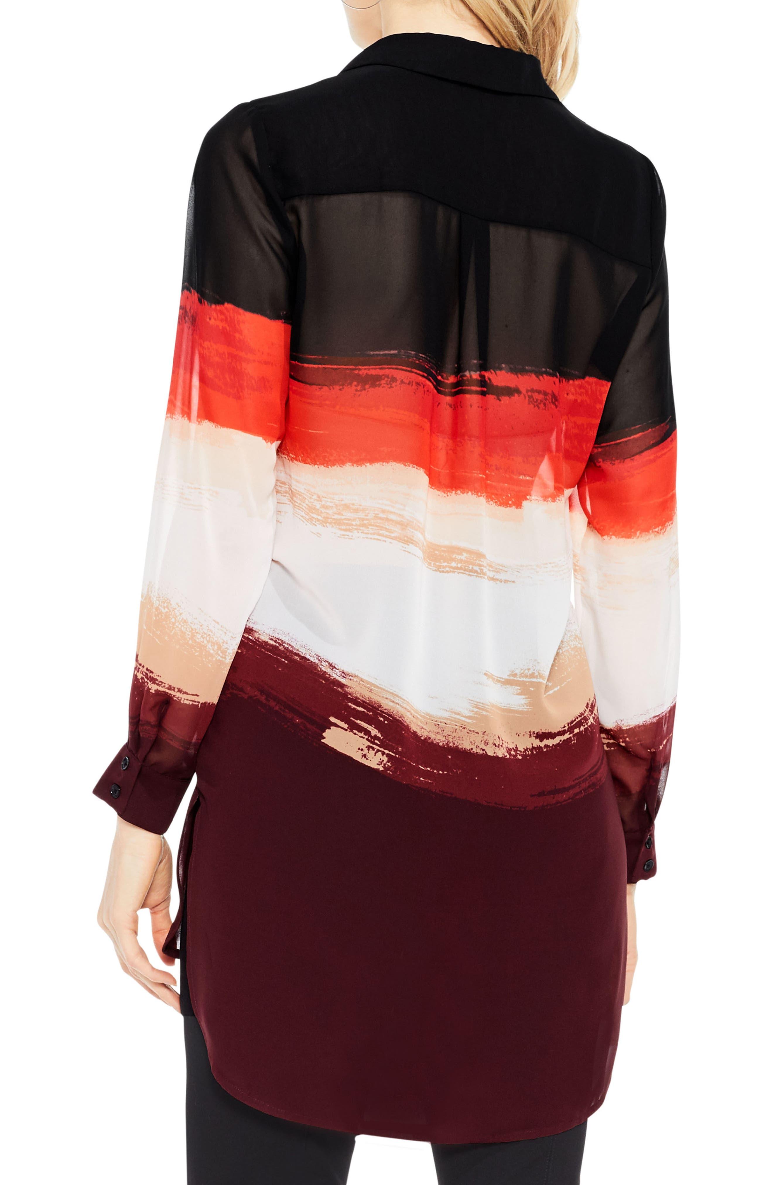 Brushstroke Horizons Tunic Shirt,                             Alternate thumbnail 2, color,                             Deep Claret