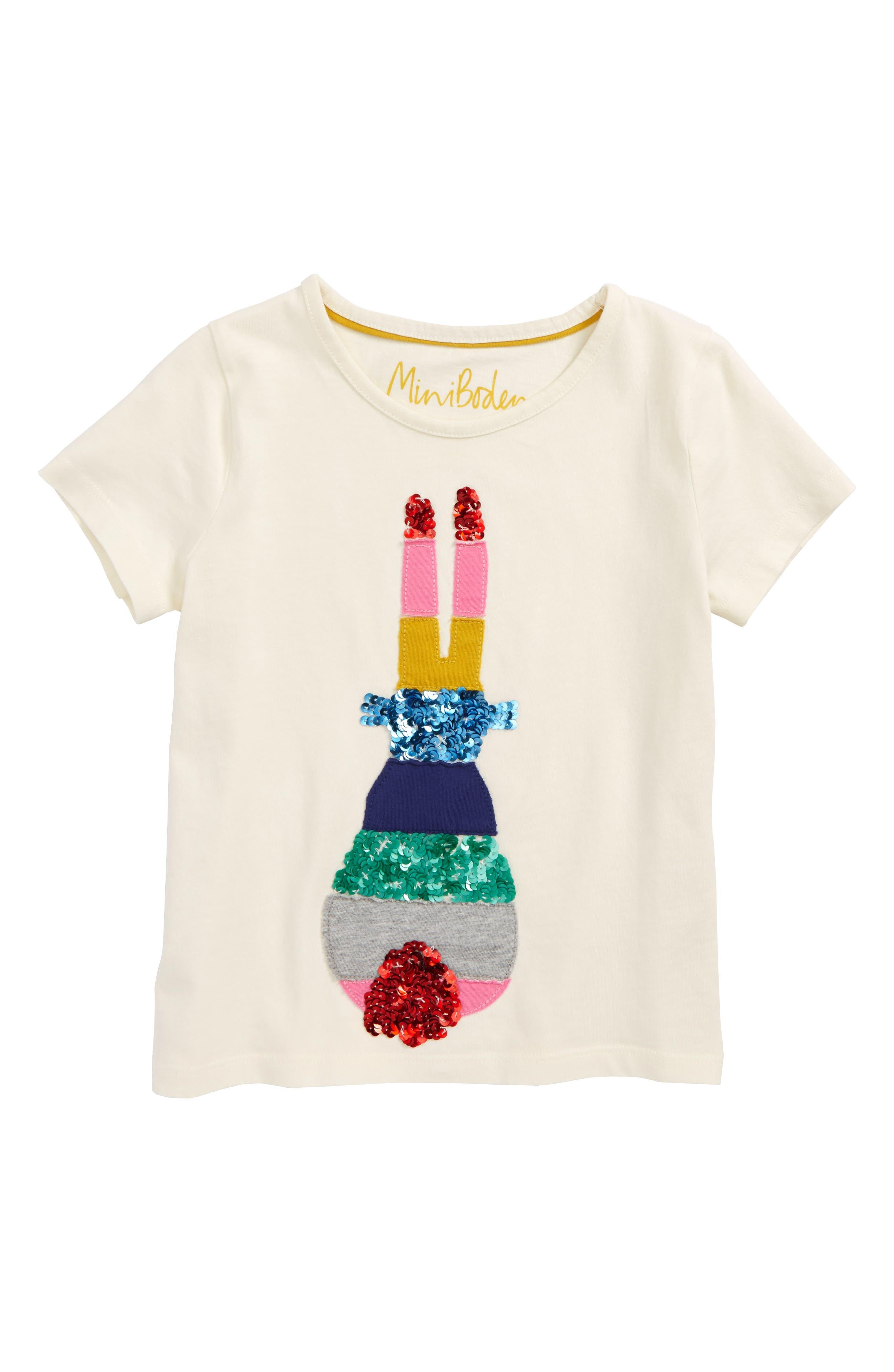 Alternate Image 1 Selected - Mini Boden Sequin Rainbow Tee (Toddler Girls, Little Girls & Big Girls)