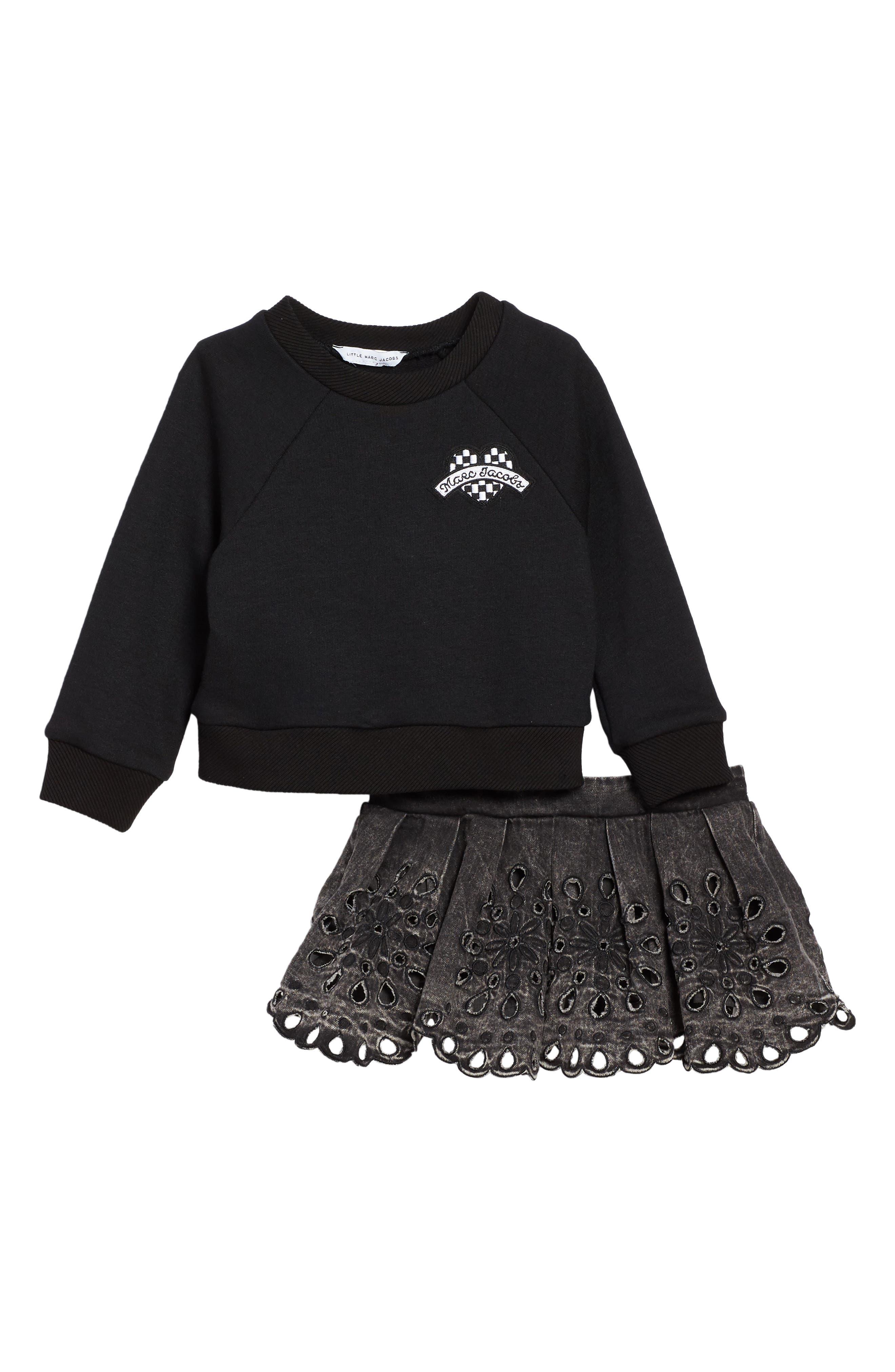 Sweatshirt & Skirt Set,                             Main thumbnail 1, color,                             Black