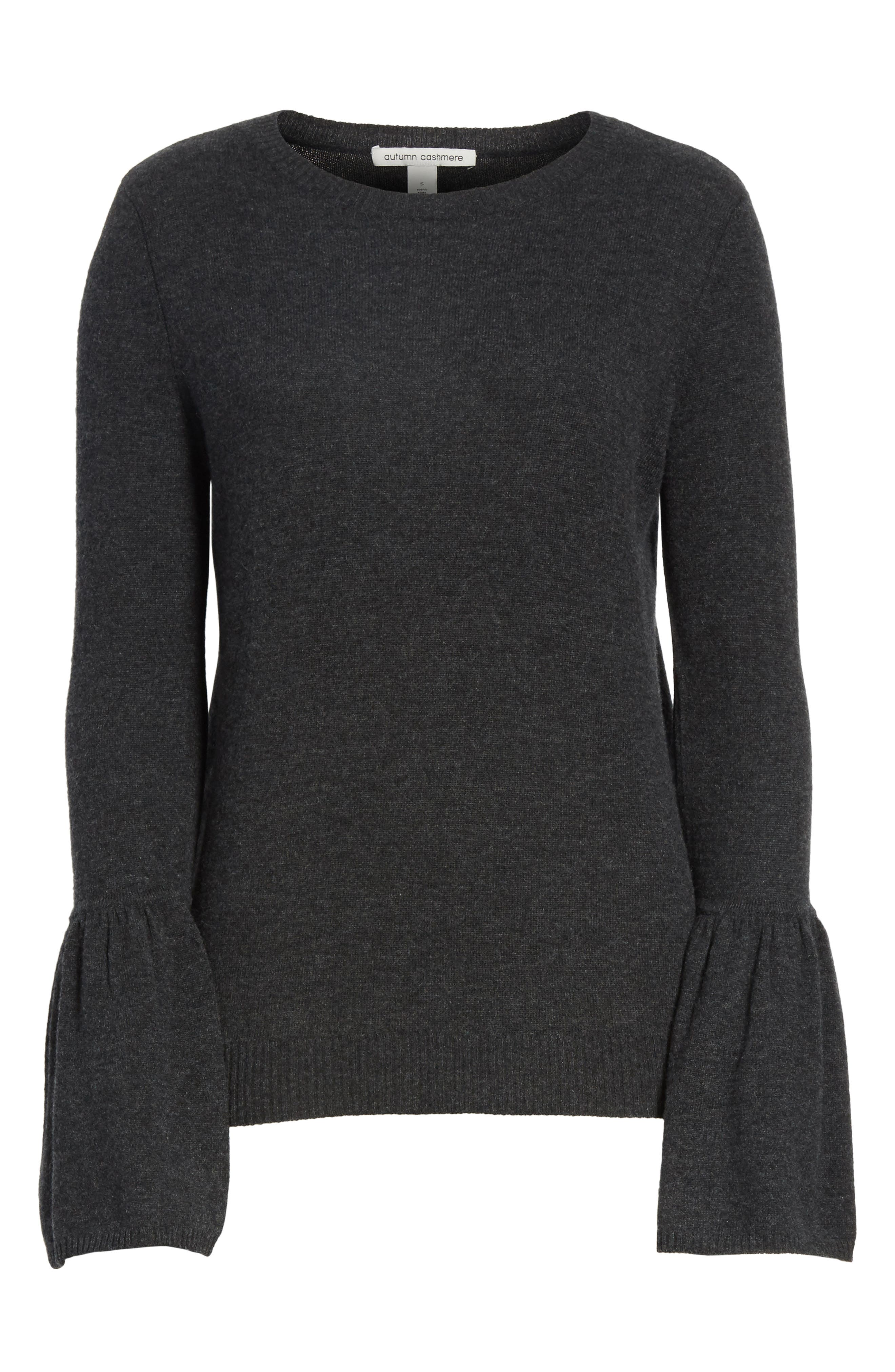 Cashmere Bell Sleeve Sweater,                             Alternate thumbnail 6, color,                             Lead