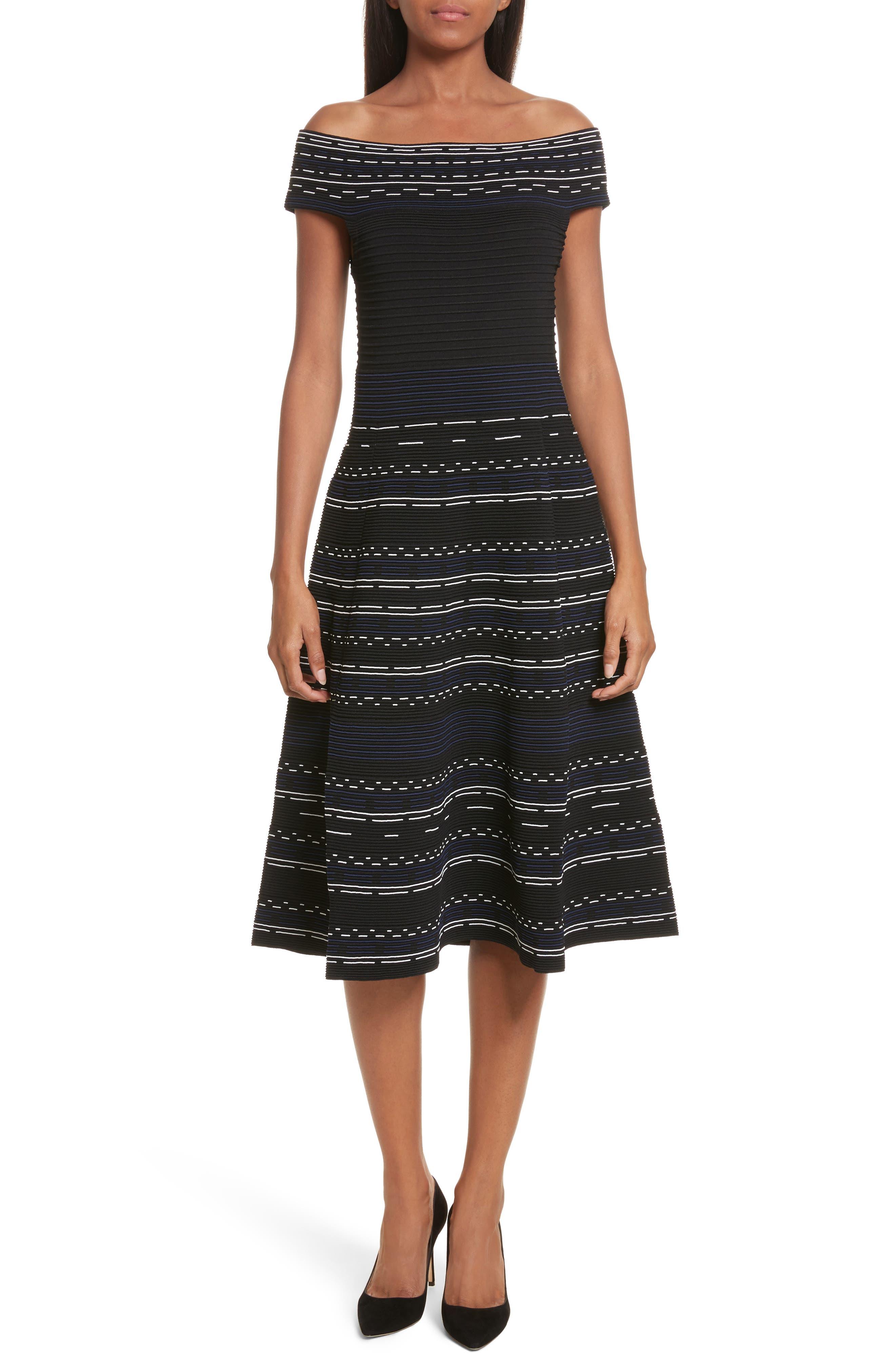 Romarni Off the Shoulder Midi Dress,                         Main,                         color, Black