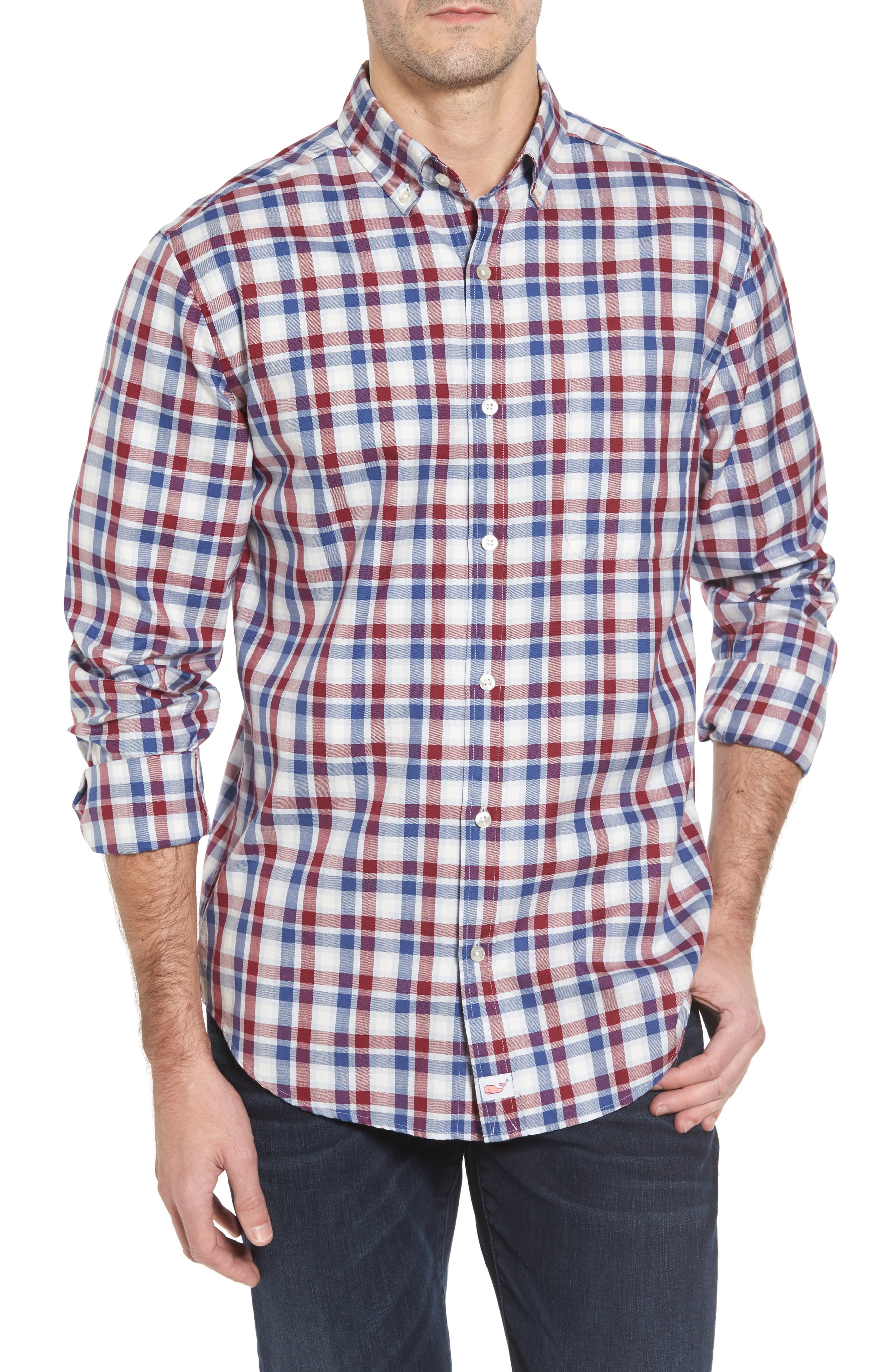 Classic Fit French Quarter Plaid Sport Shirt,                             Main thumbnail 1, color,                             Red Wine
