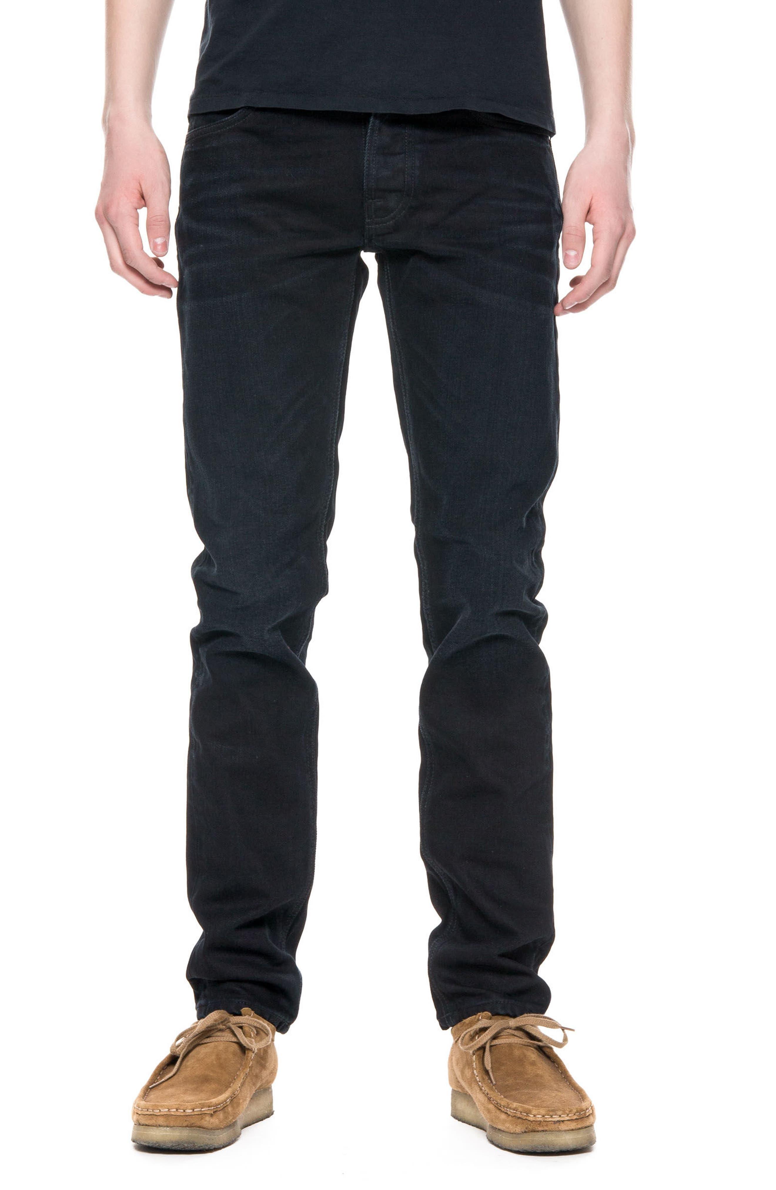 Nudie Jeans Lean Dean Slouchy Slim Fit Jeans (Black Sparkle)