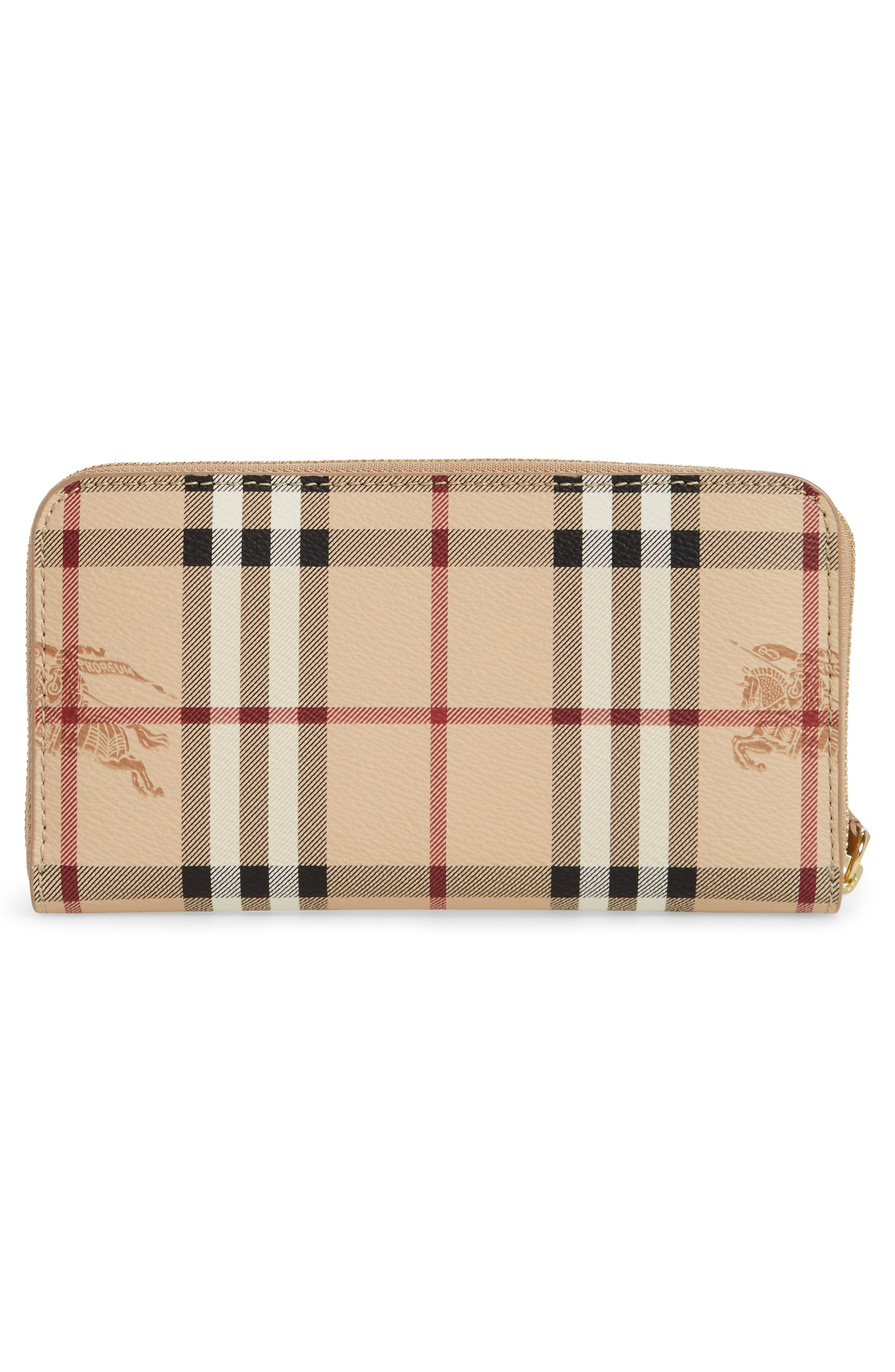 Alternate Image 4  - Burberry Elmore Haymarket Check Coated Canvas & Leather Zip Around Wallet