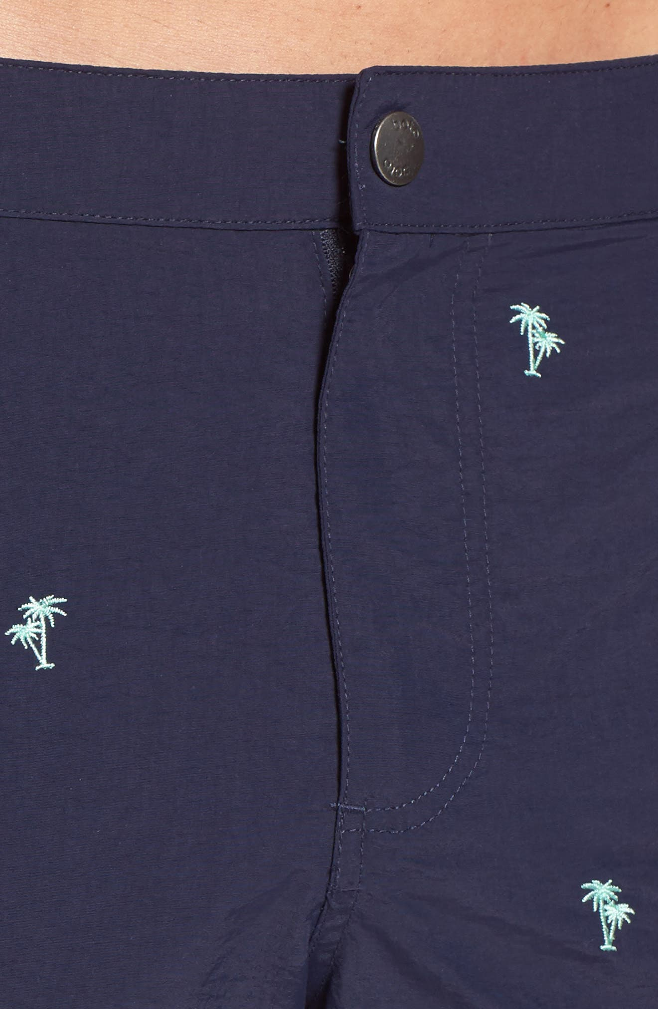 Aruba Tailored Fit Embroidered Palm Swim Trunks,                             Alternate thumbnail 4, color,                             Navy Emb Palm Trees