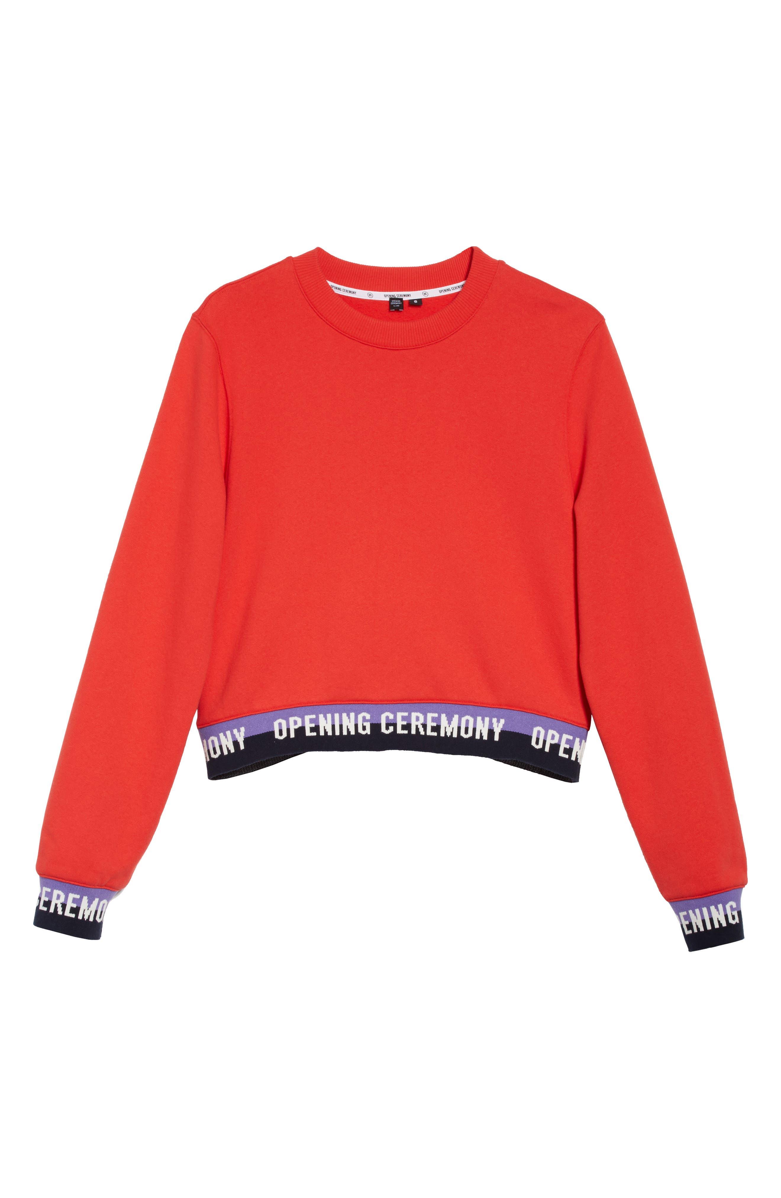 Alternate Image 6  - Opening Ceremony Elastic Logo Crop Sweatshirt (Limited Edition)