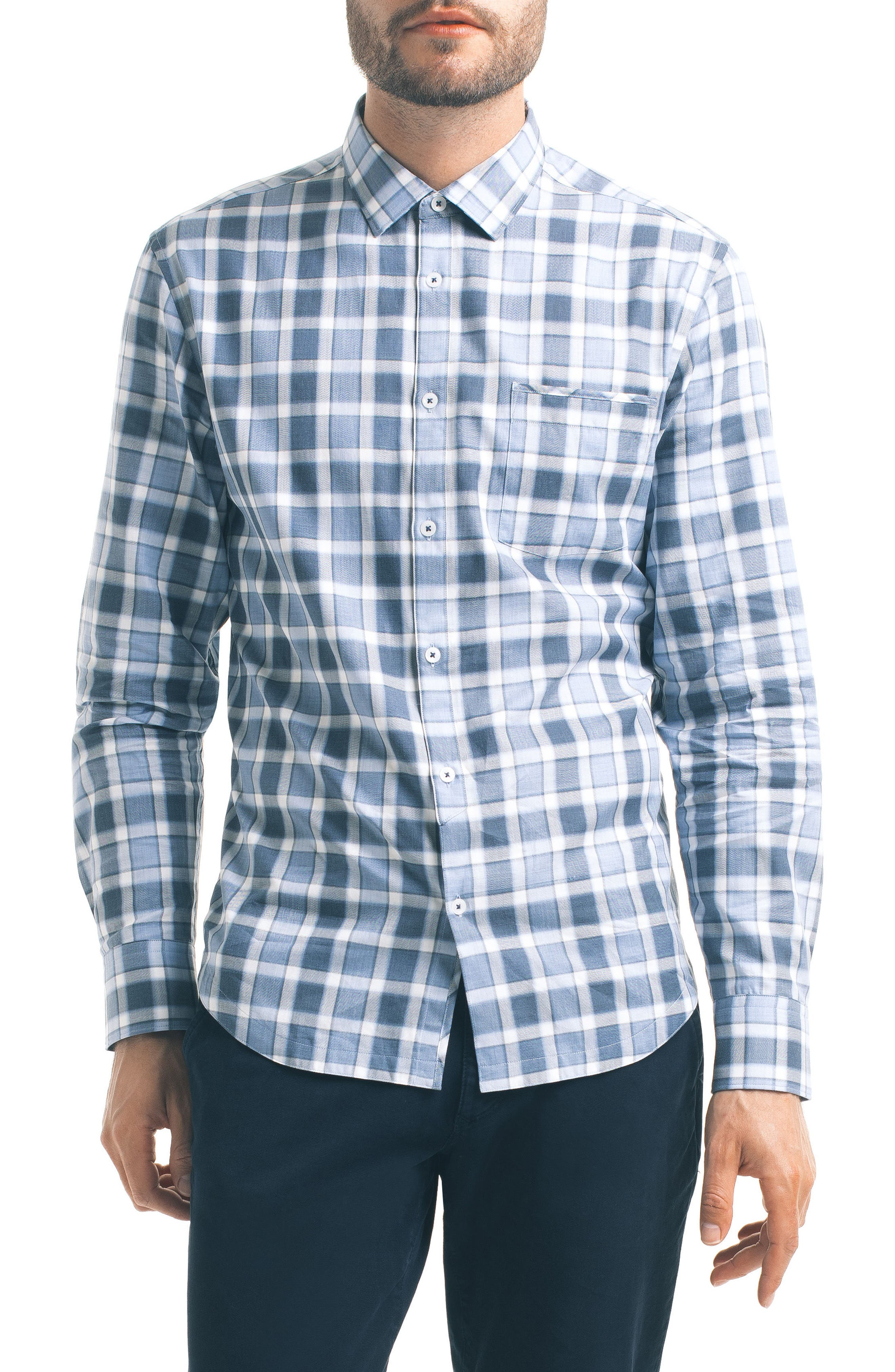 Slim Fit Windowpane Check Sport Shirt,                         Main,                         color, Blue